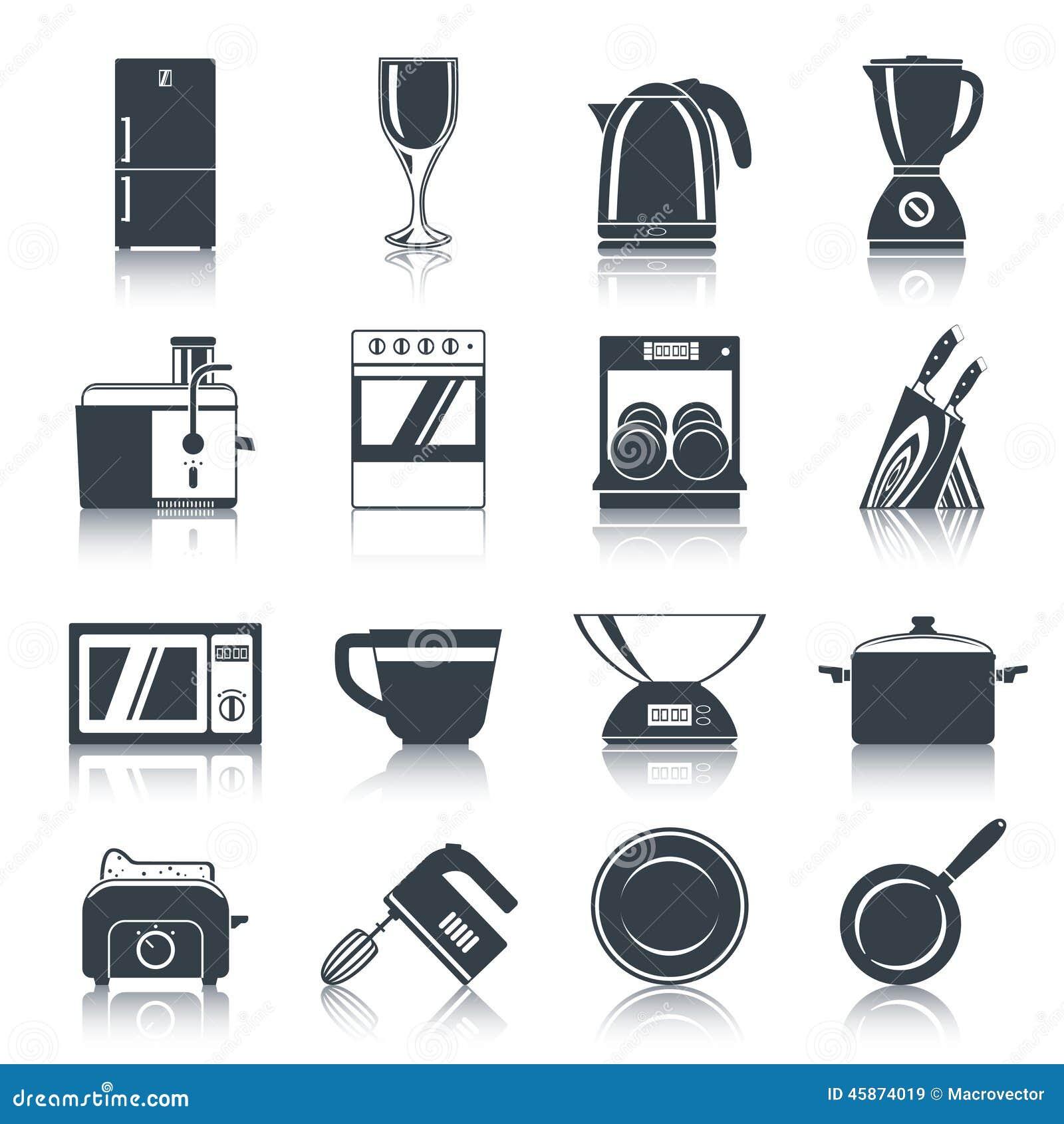 Il nero delle icone degli elettrodomestici da cucina illustrazione vettoriale immagine 45874019 - Elettrodomestici da cucina ...