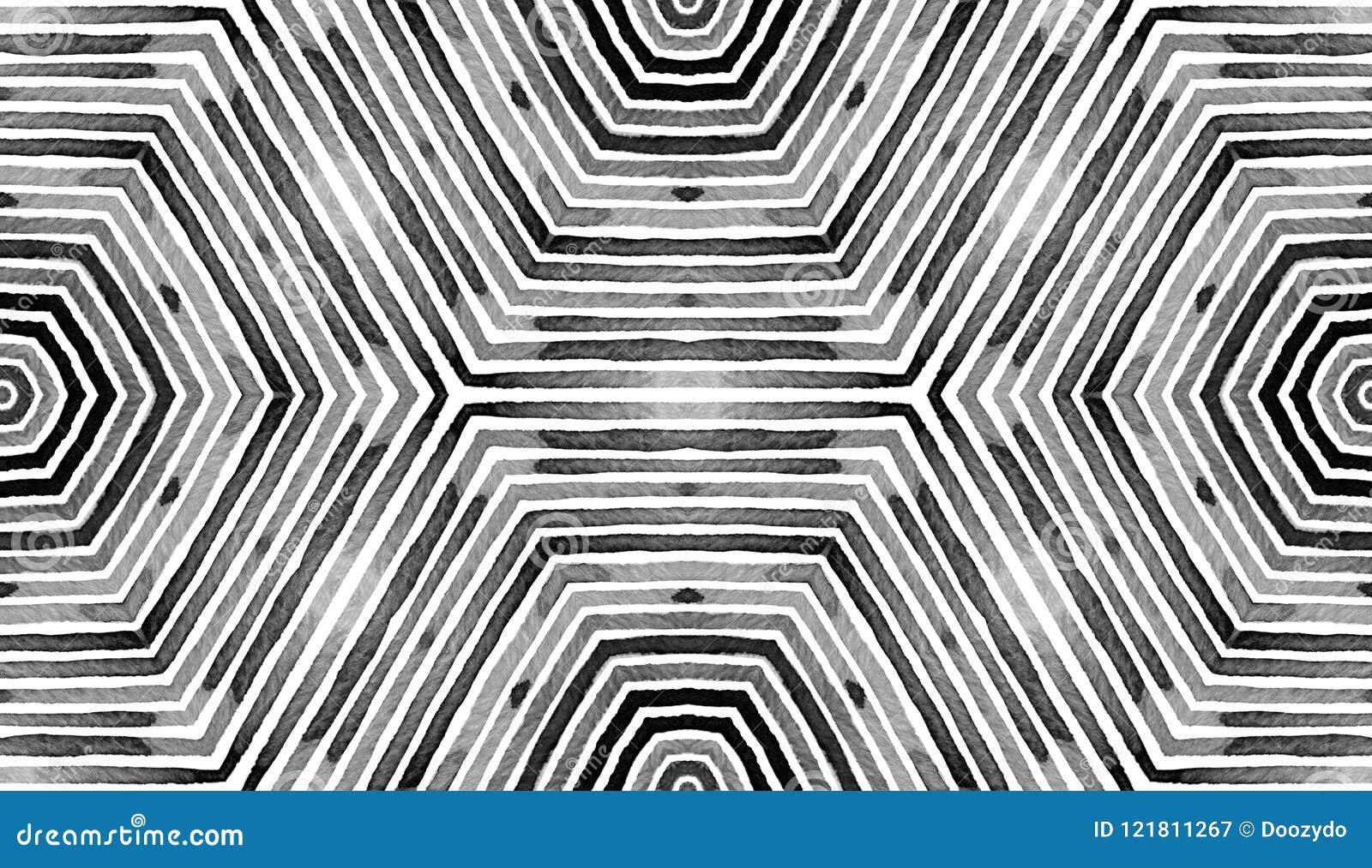 Il nero e acquerello geometrico bianco- Modello senza cuciture reale Bande disegnate a mano Struttura della spazzola Ornamento pe