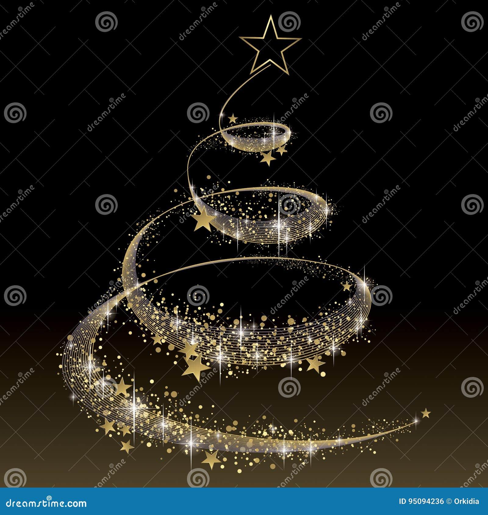 Albero Di Natale Nero E Oro.Il Nero Ed Albero Di Natale Dell Oro Illustrazione Vettoriale