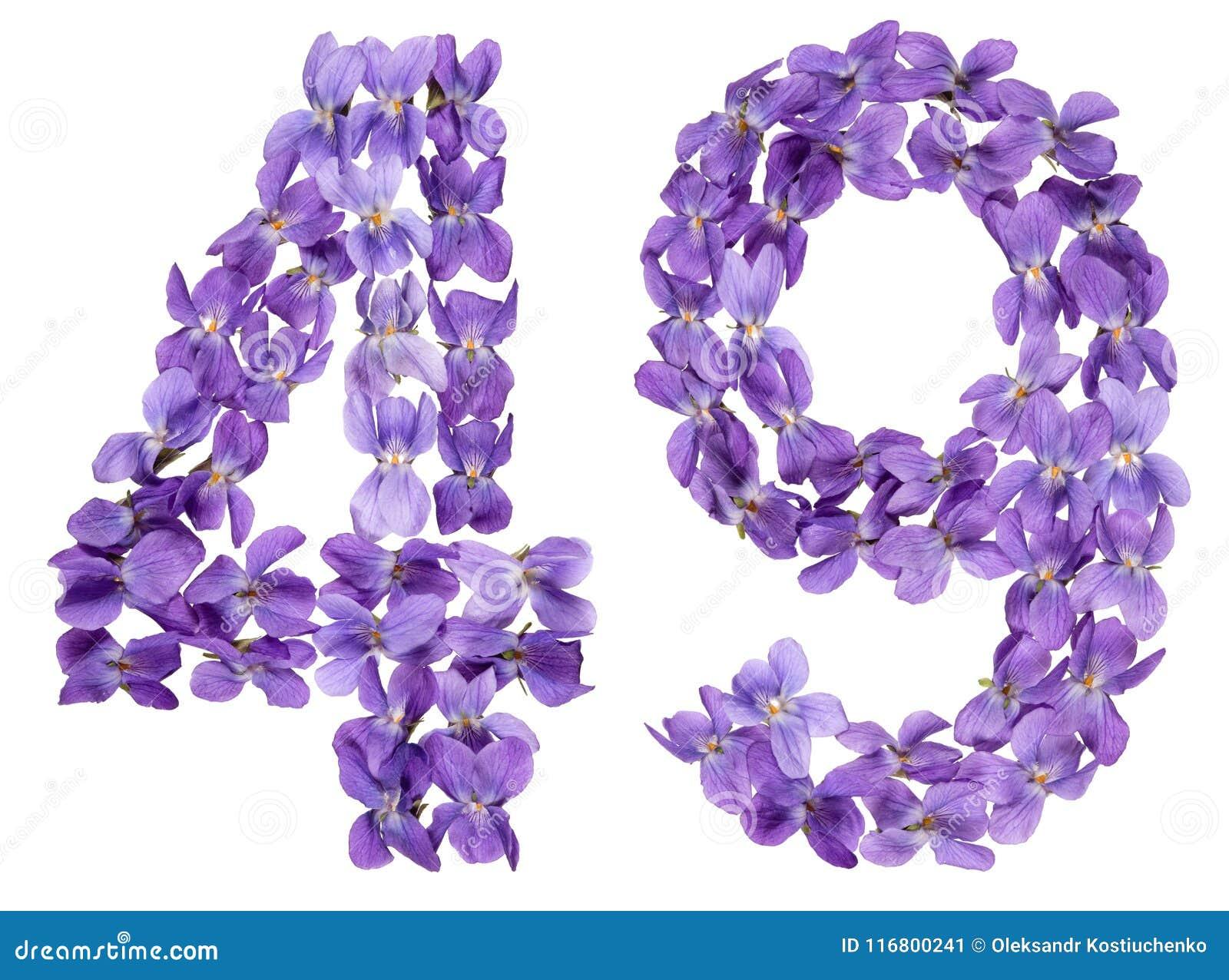Il numero arabo 49, quarantanove, dai fiori della viola, ha isolato la o