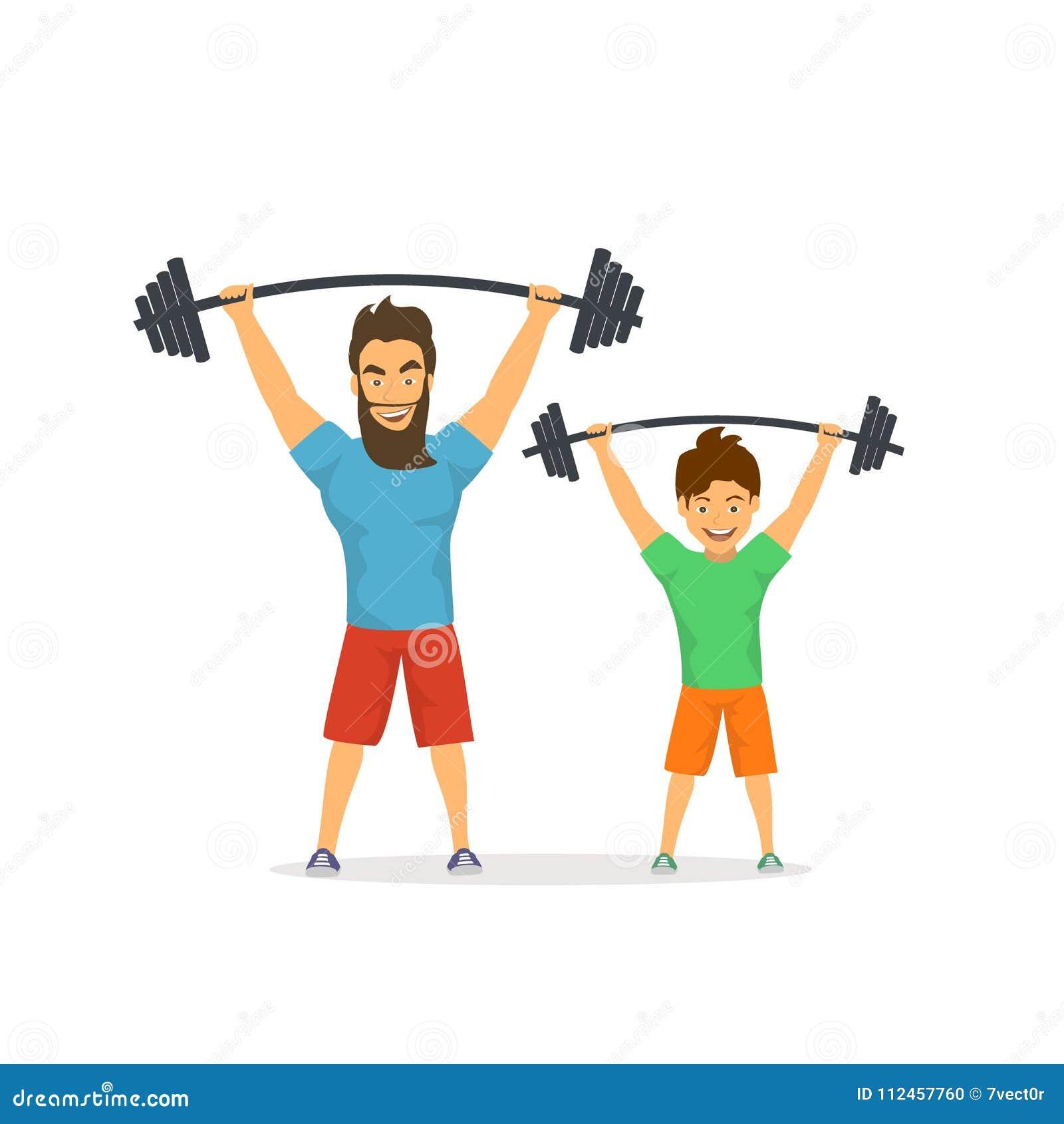 Il padre ed il figlio che si esercitano insieme, bilancieri di sollevamento in palestra, papà fornisce il buon esempio al suo bam