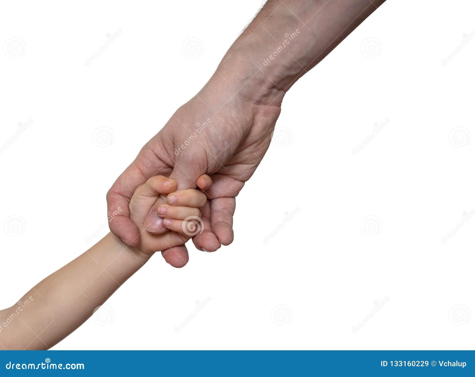 Il padre tiene la mano del suo bambino Isolato su priorità bassa bianca