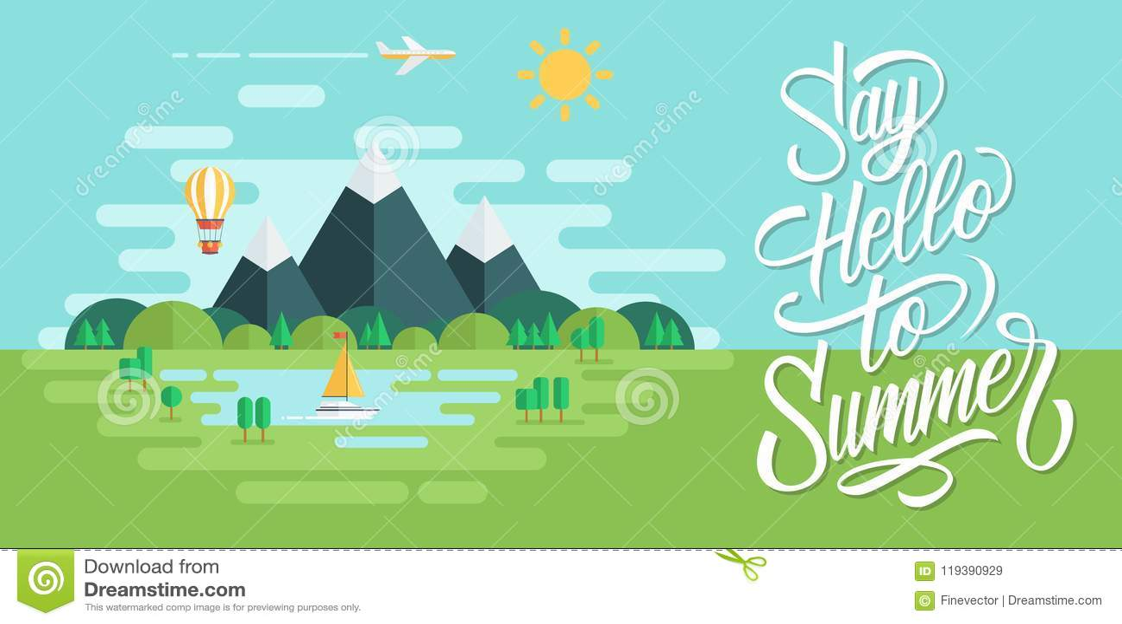 Il paesaggio dell estate con il sole, le montagne, le nuvole, la mongolfiera, l aeroplano, l yacht e l iscrizione scritta a mano