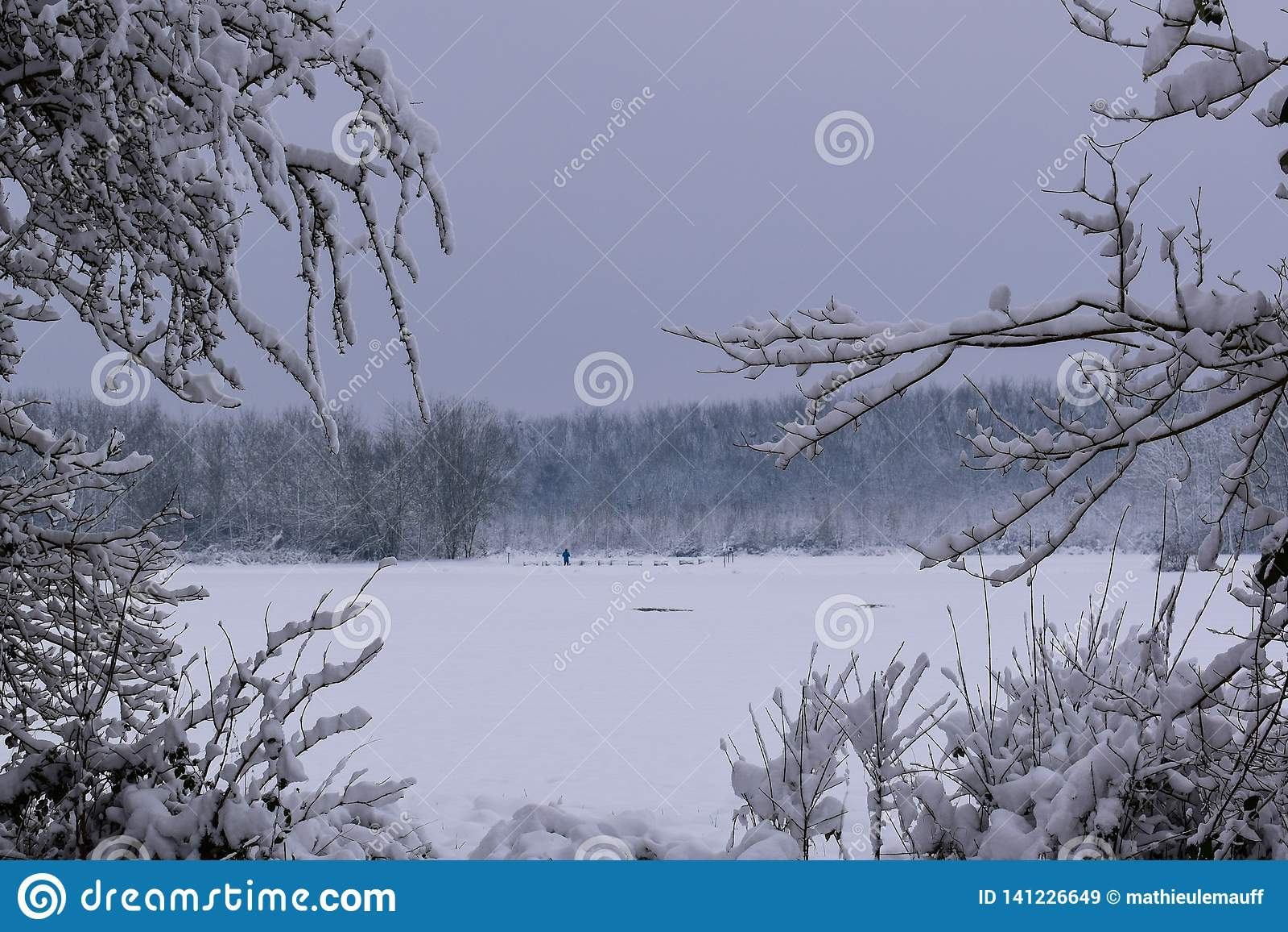 Il paesaggio di Snowy in campagna francese durante il Natale condisce/inverno
