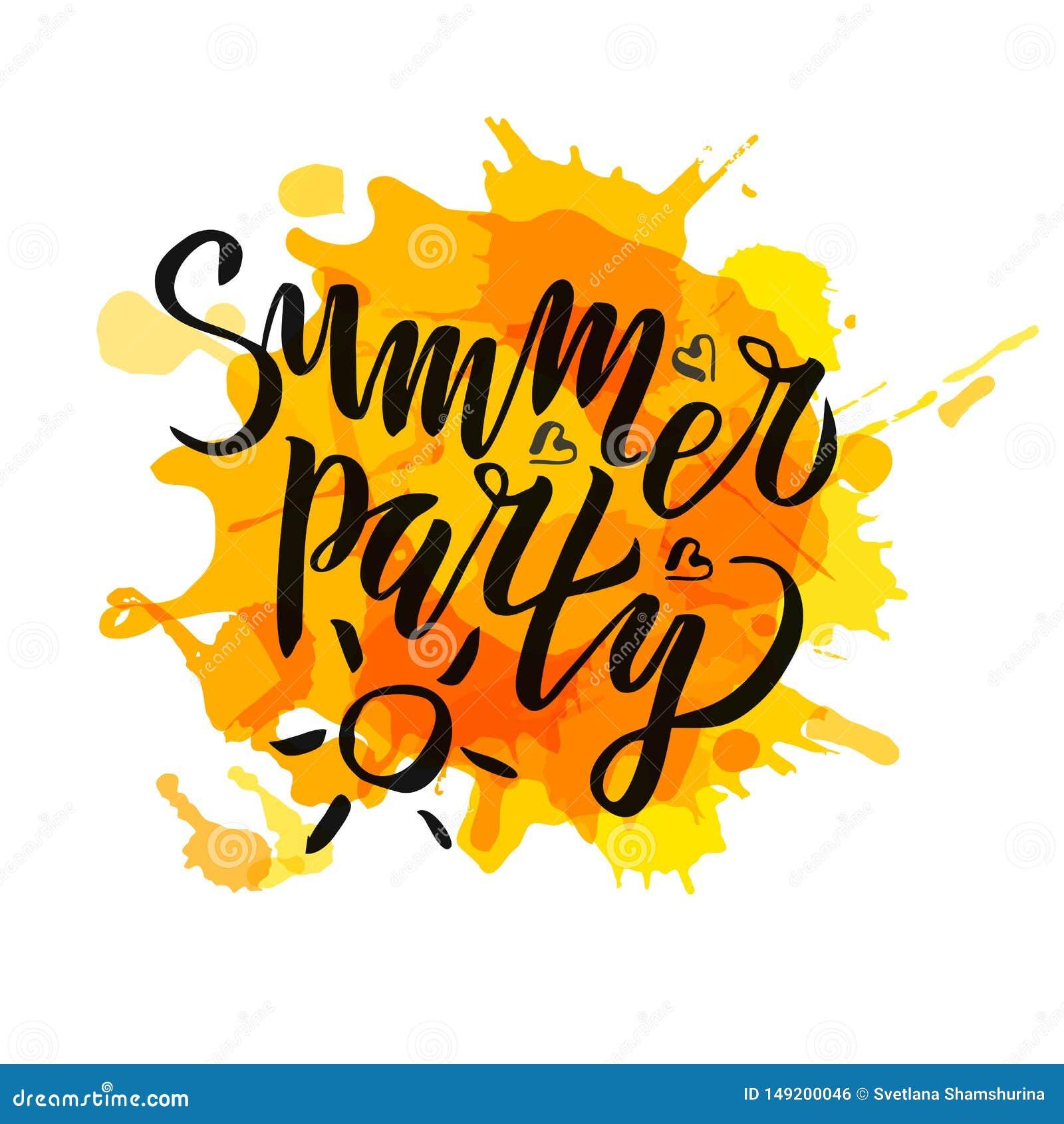 Il partito dell estate che segna la calligrafia con lettere scritta a mano di pendenza, spazzola ha dipinto le lettere sul fondo