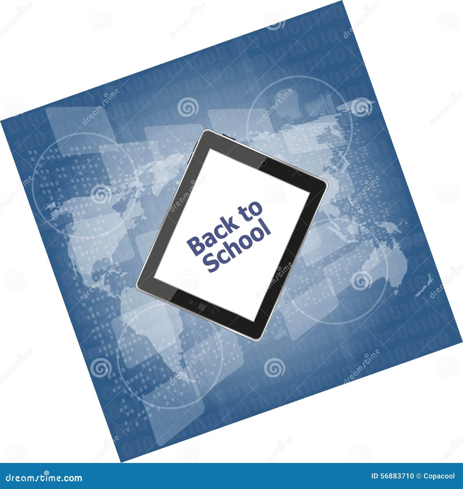 Il PC della compressa ha messo con di nuovo alla parola su, concetto della scuola di istruzione