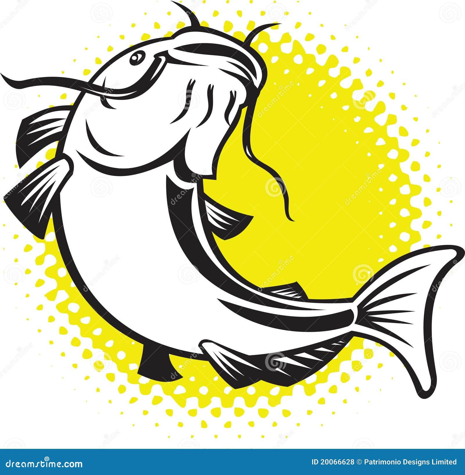 Il pesce gatto che salta in su con i puntini di semitono for Gatto clipart