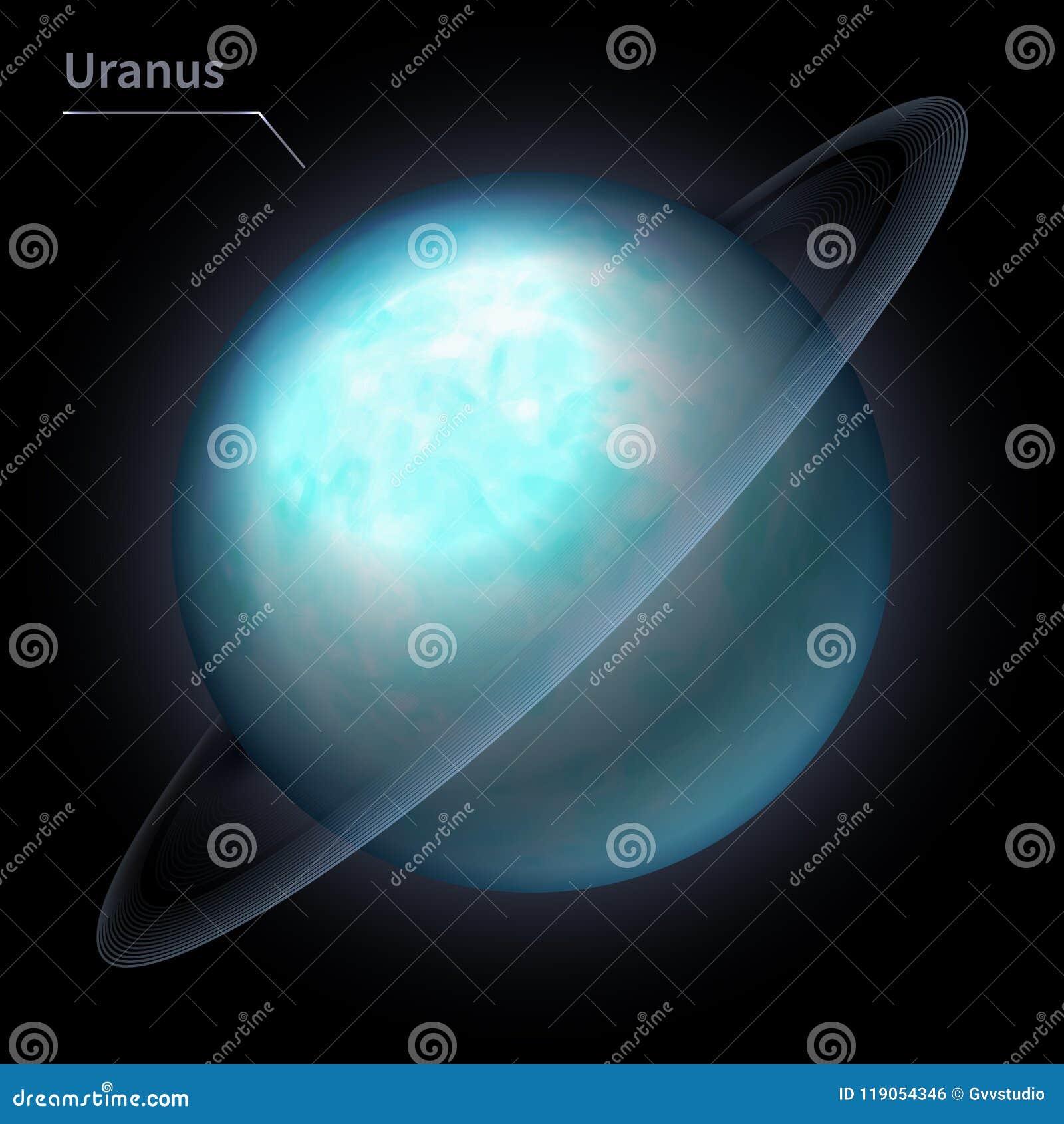 Il pianeta realistico di Urano è isolato sul cielo cosmico nell oscurità della galassia