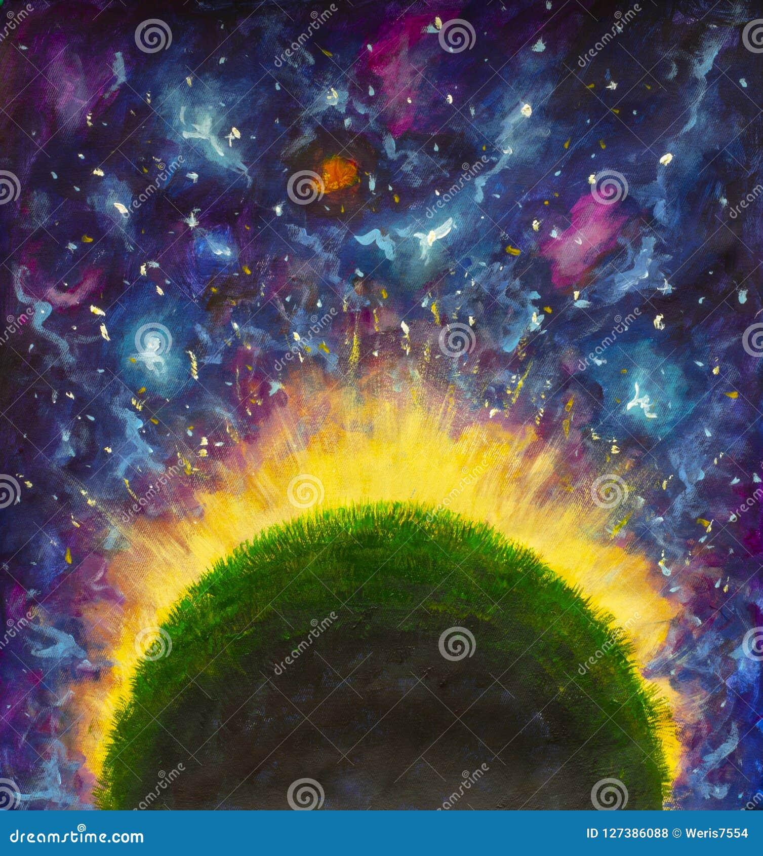 Il pianeta verde d ardore di piccolo principe nello spazio porpora