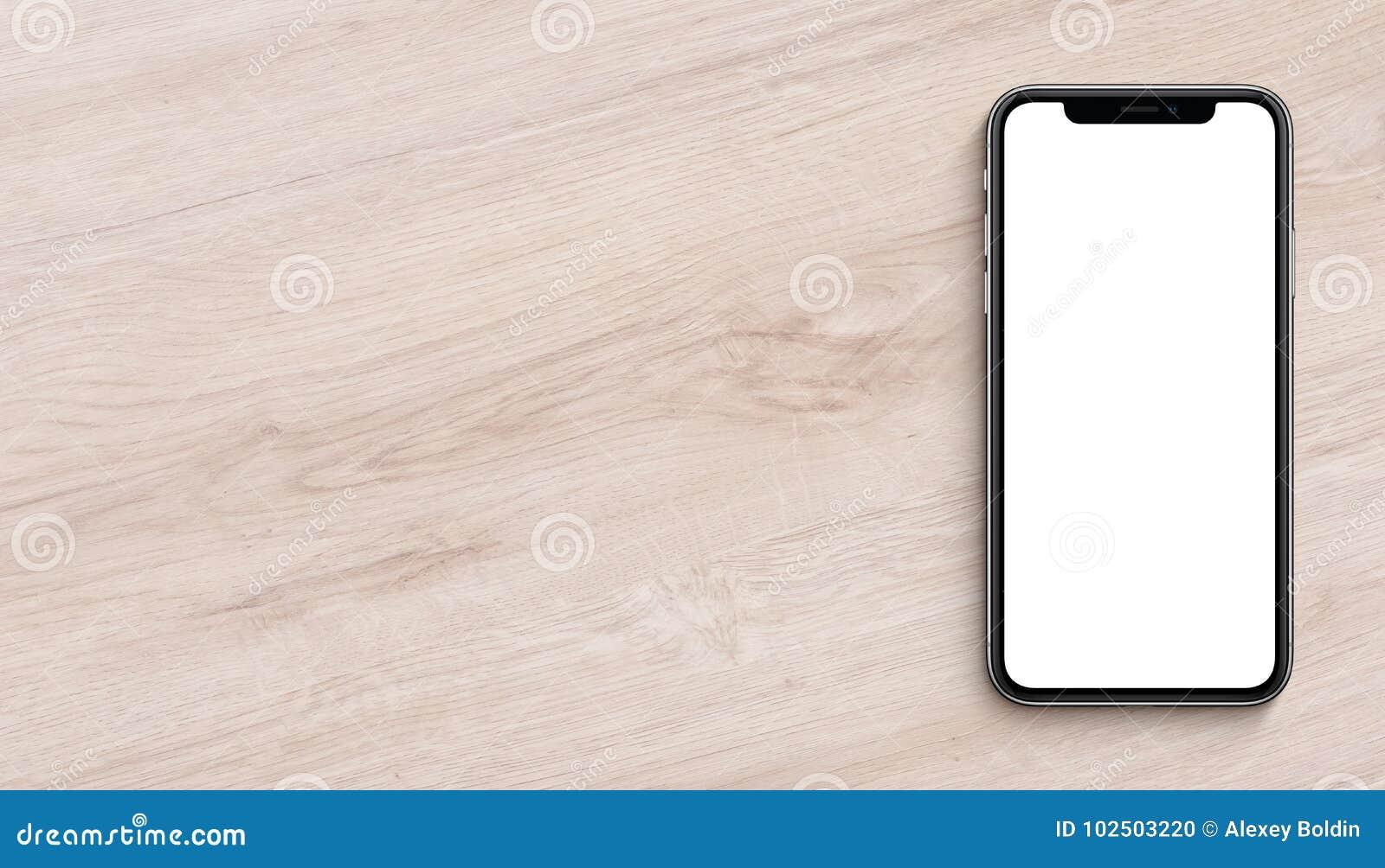 Il piano del modello di Smartphone pone la vista superiore che si trova sull insegna di legno della scrivania con lo spazio della