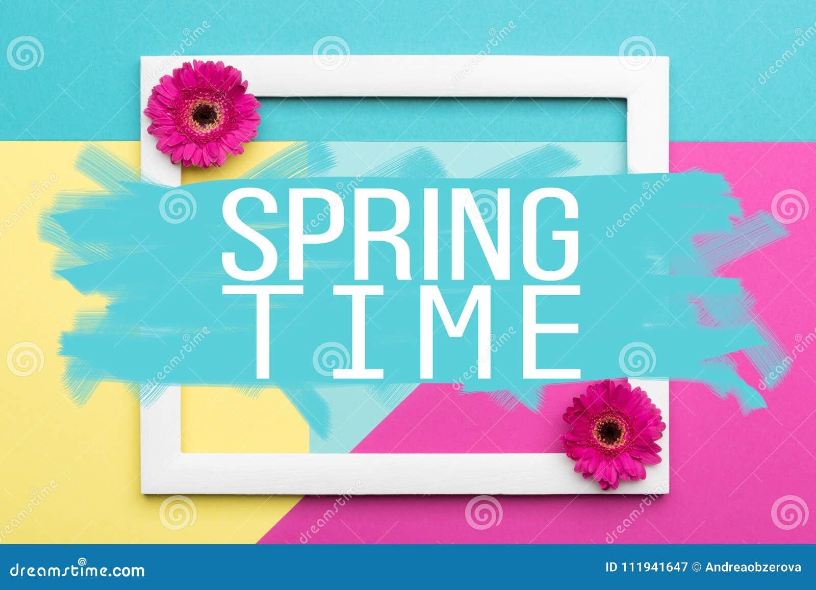 Il piano floreale di tempo di primavera pone la cartolina d auguri di minimalismo