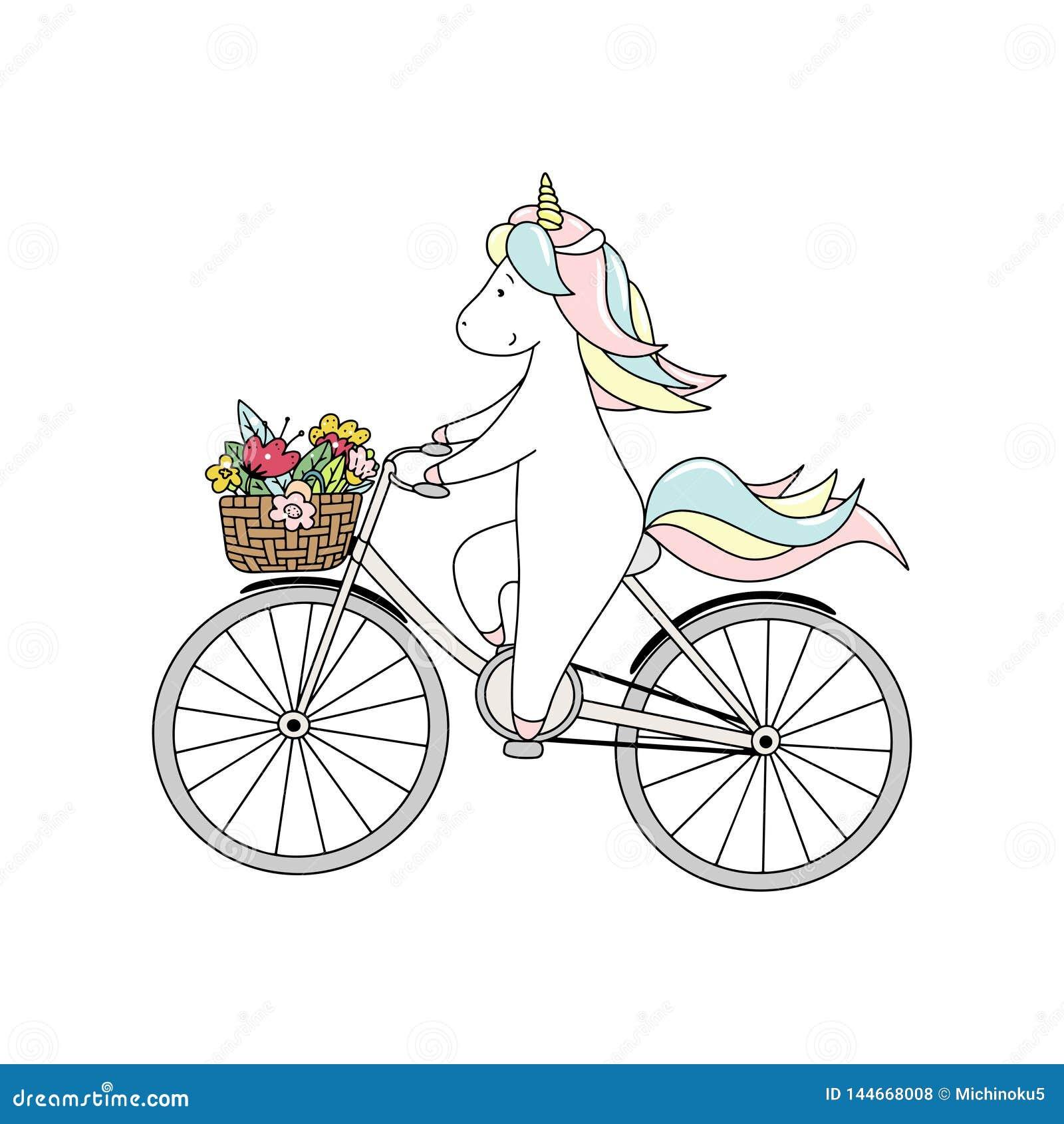 Il piccolo unicorno sveglio sta guidando una bicicletta con il mazzo dei fiori Illustrazione disegnata a mano di vettore
