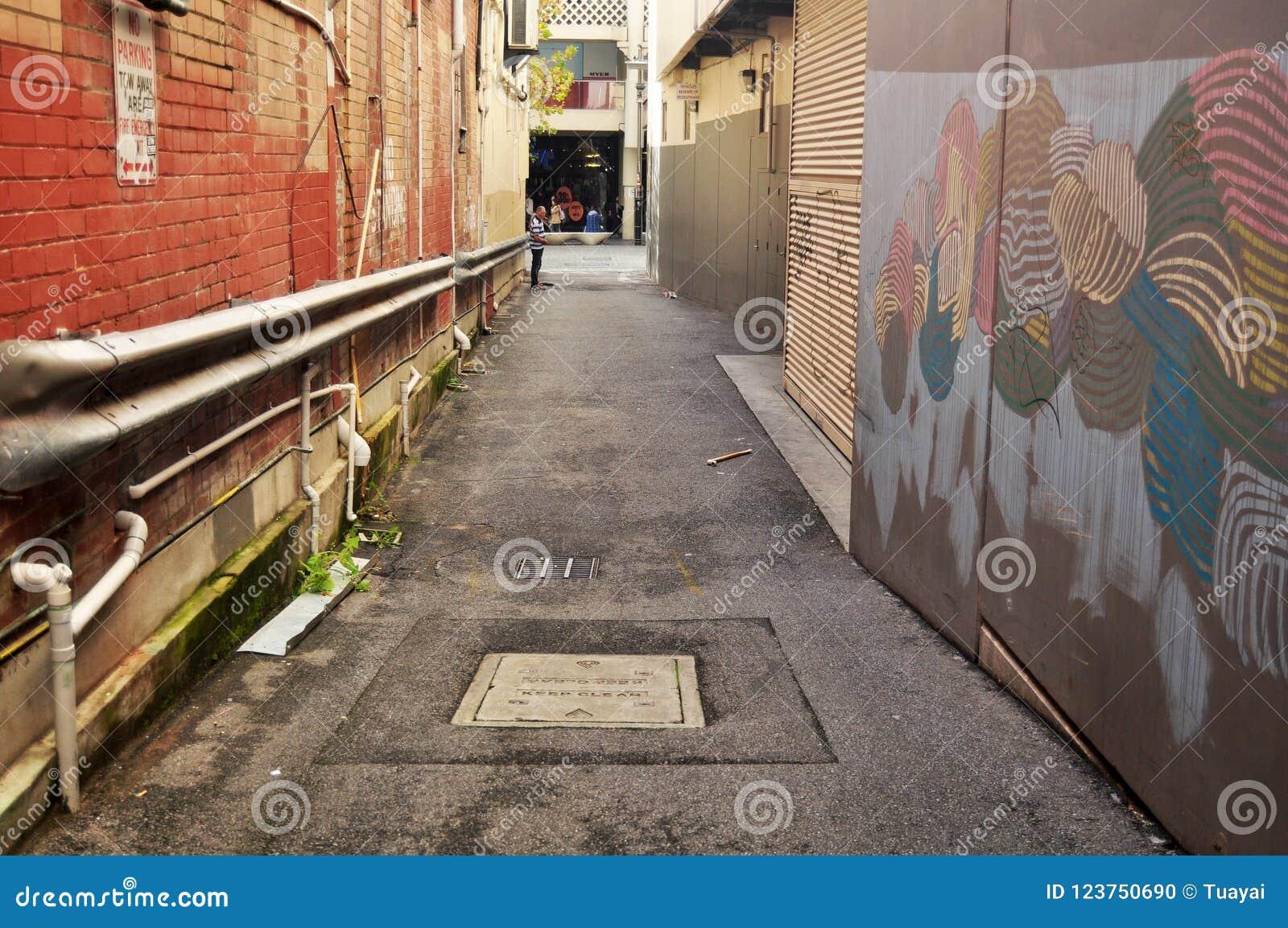 Il piccolo vicolo per la camminata della gente va rivoltare il fieno il centro commerciale della via a Perth, Australia