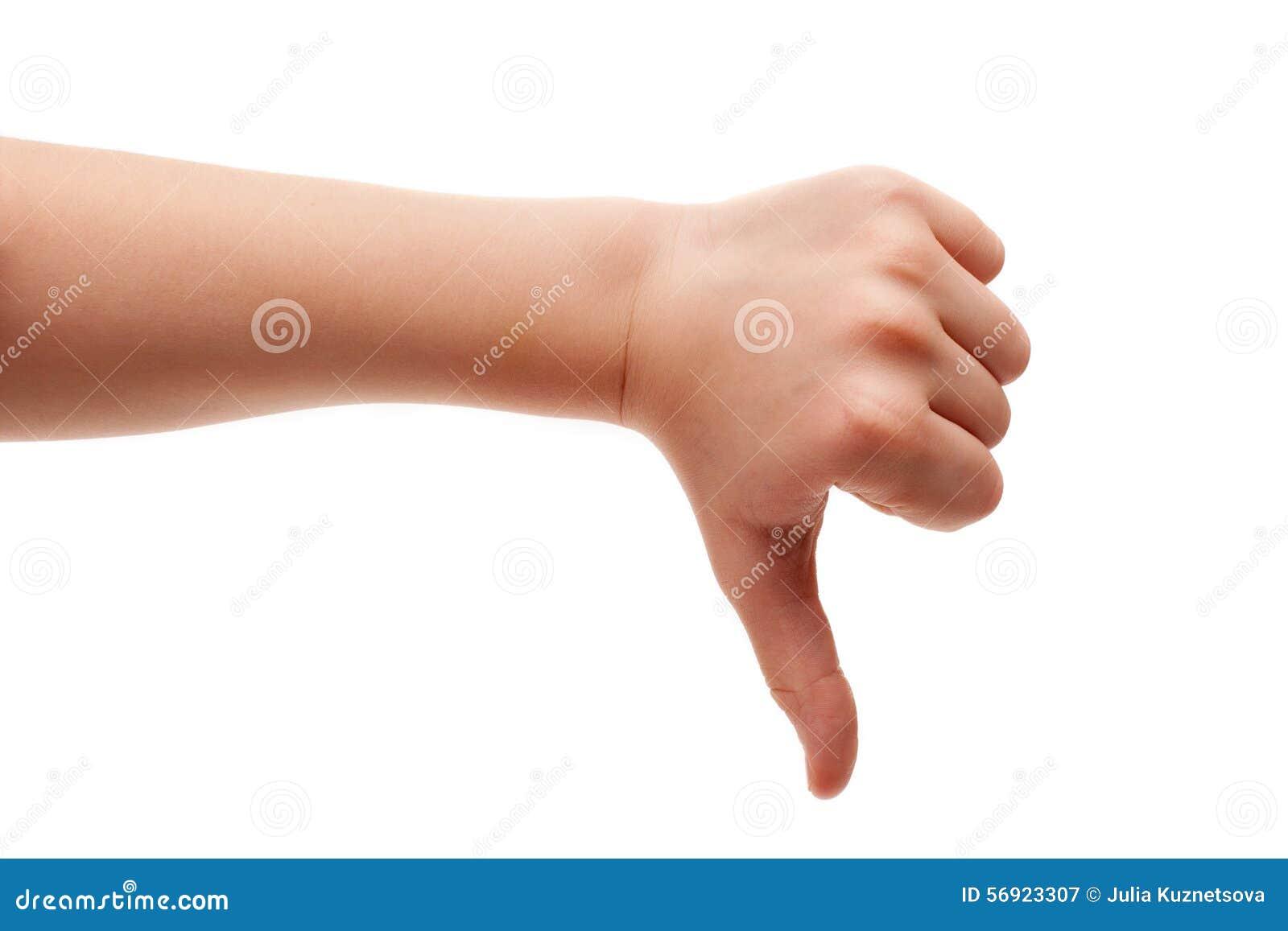 Il pollice giù gesture