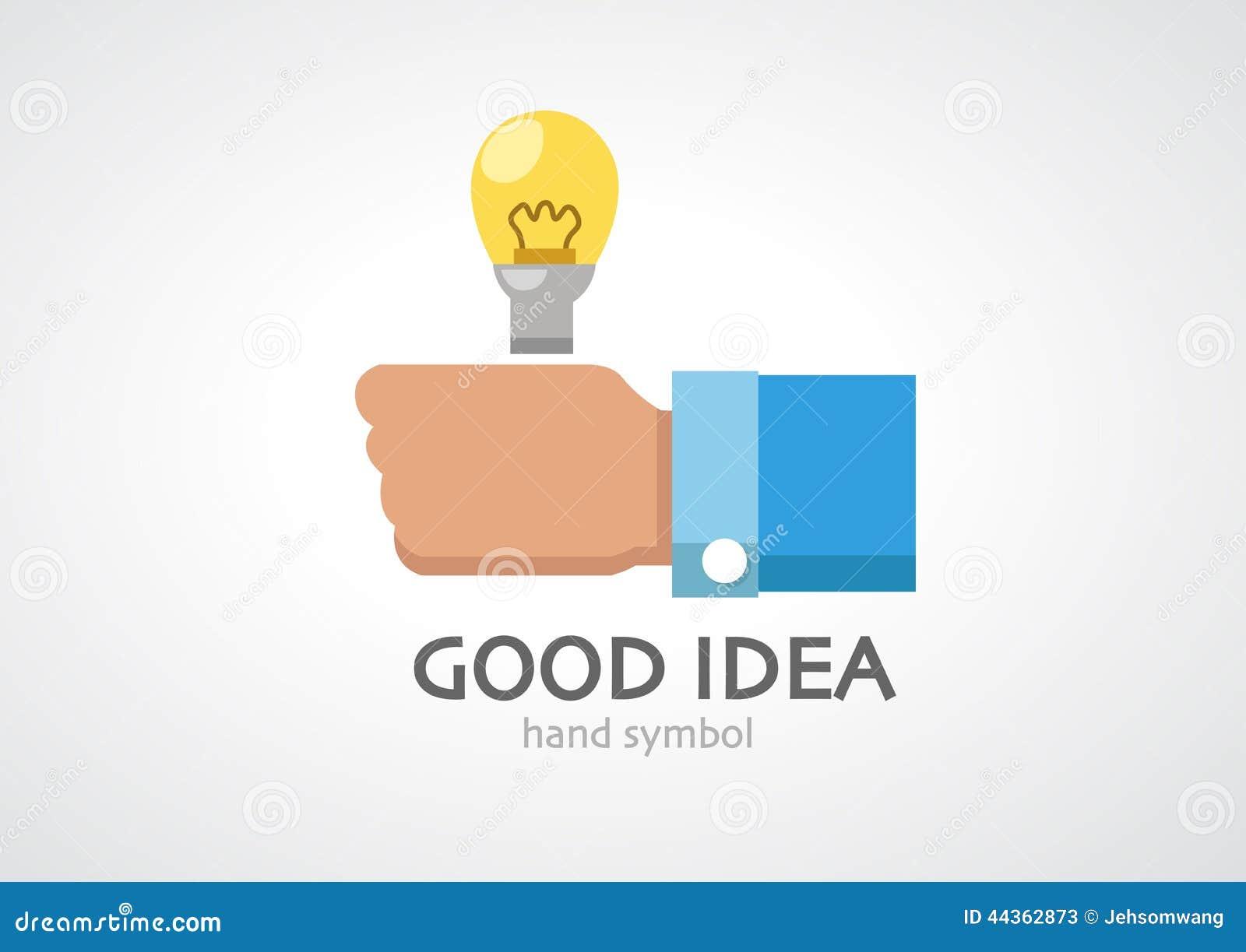 Il pollice nell ambito della luce di lampadina nella mano