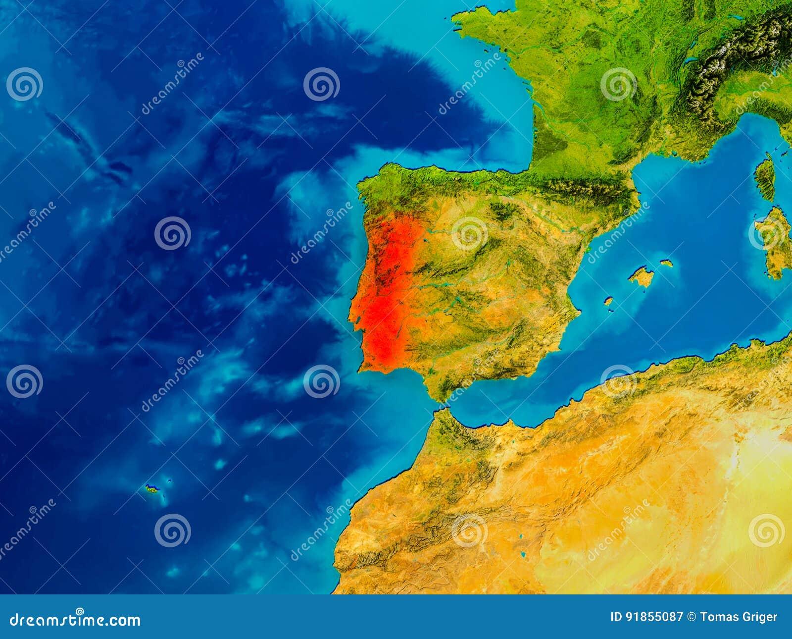 Il Portogallo Sulla Mappa Fisica Illustrazione Di Stock Illustrazione Di Fuoco Rosso 91855087