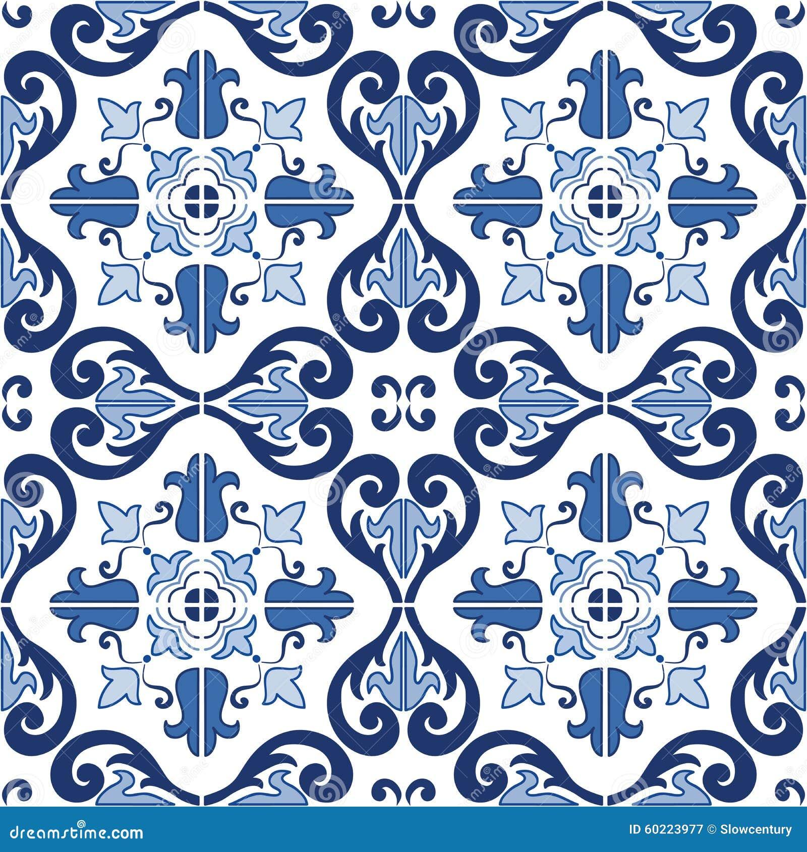 Il Portoghese decorato tradizionale piastrella il modello senza cuciture di azulejos Illustrazione di vettore