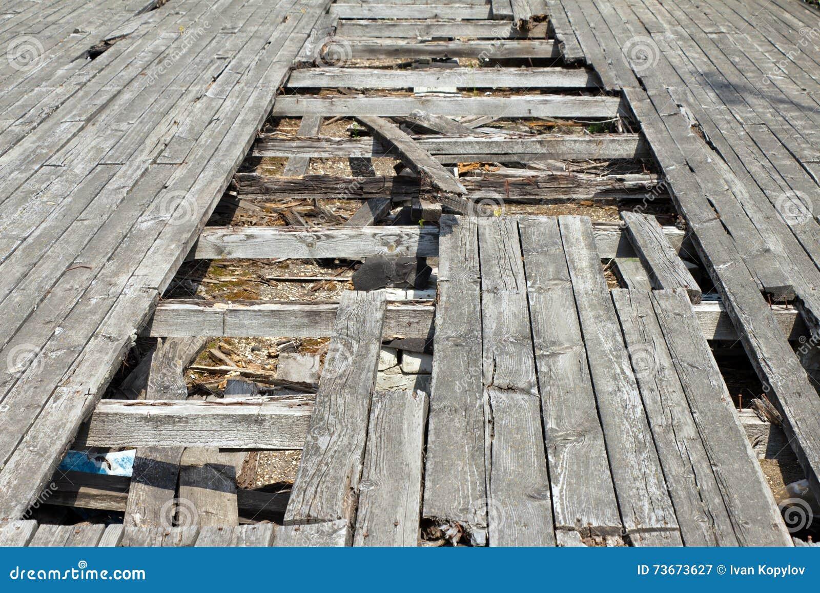 Vecchio Materiale Da Copertura il pozzo (foro) nel vecchio e pavimento consumato la