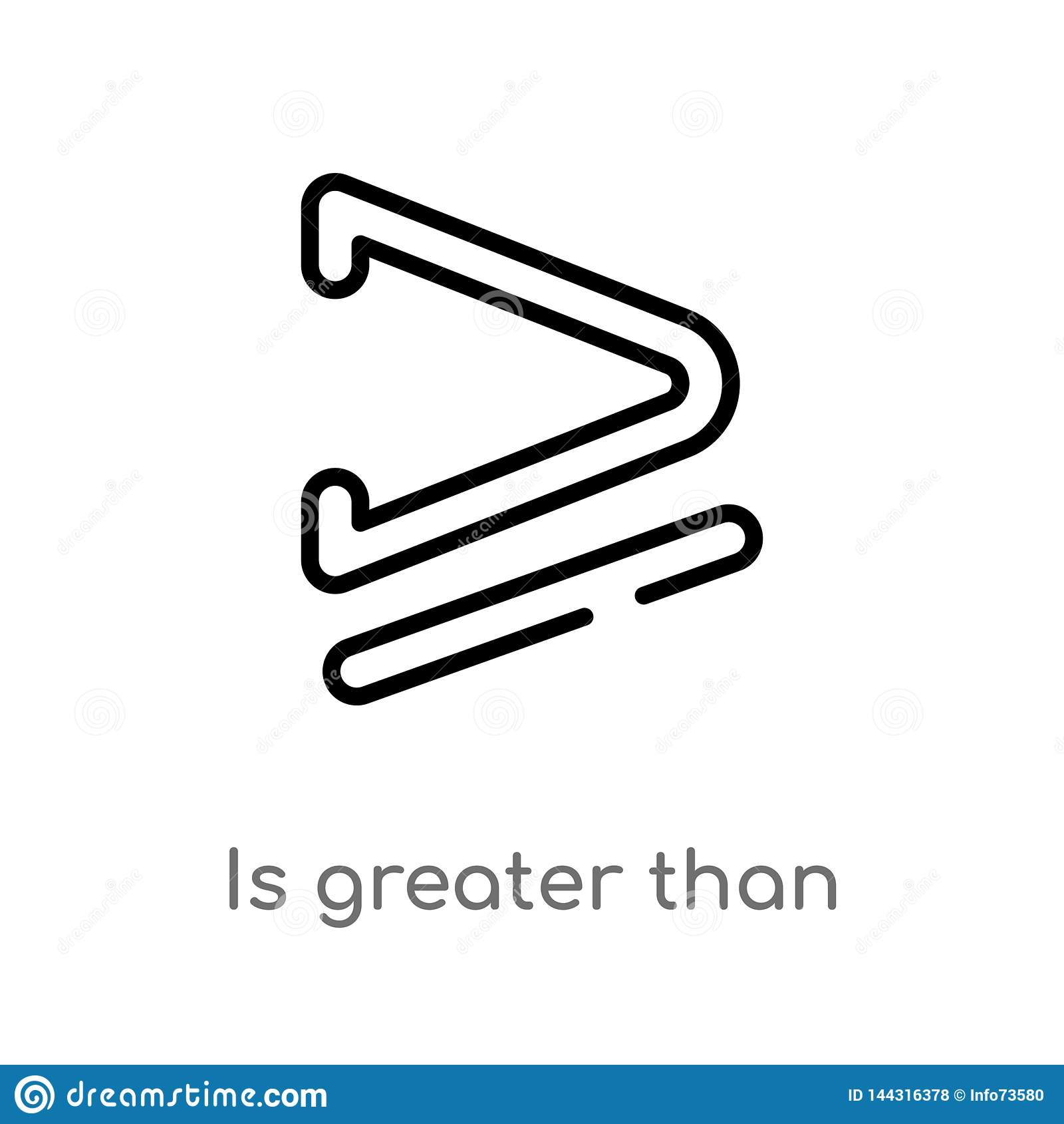 Il profilo ? superiore o uguale a icona di vettore linea semplice nera isolata illustrazione dell elemento dal concetto dei segni