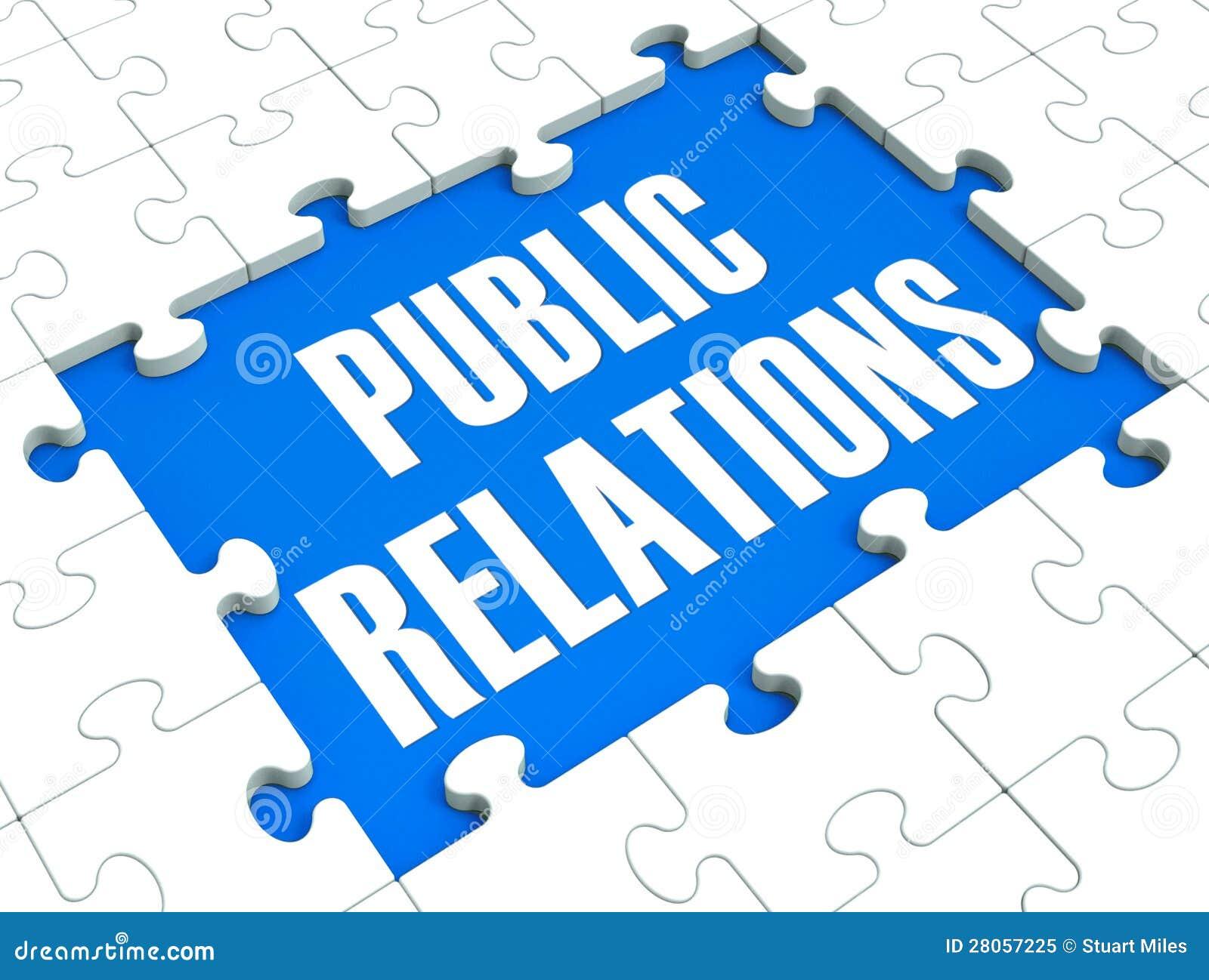 Il puzzle di pubbliche relazioni mostra la pubblicità e la stampa