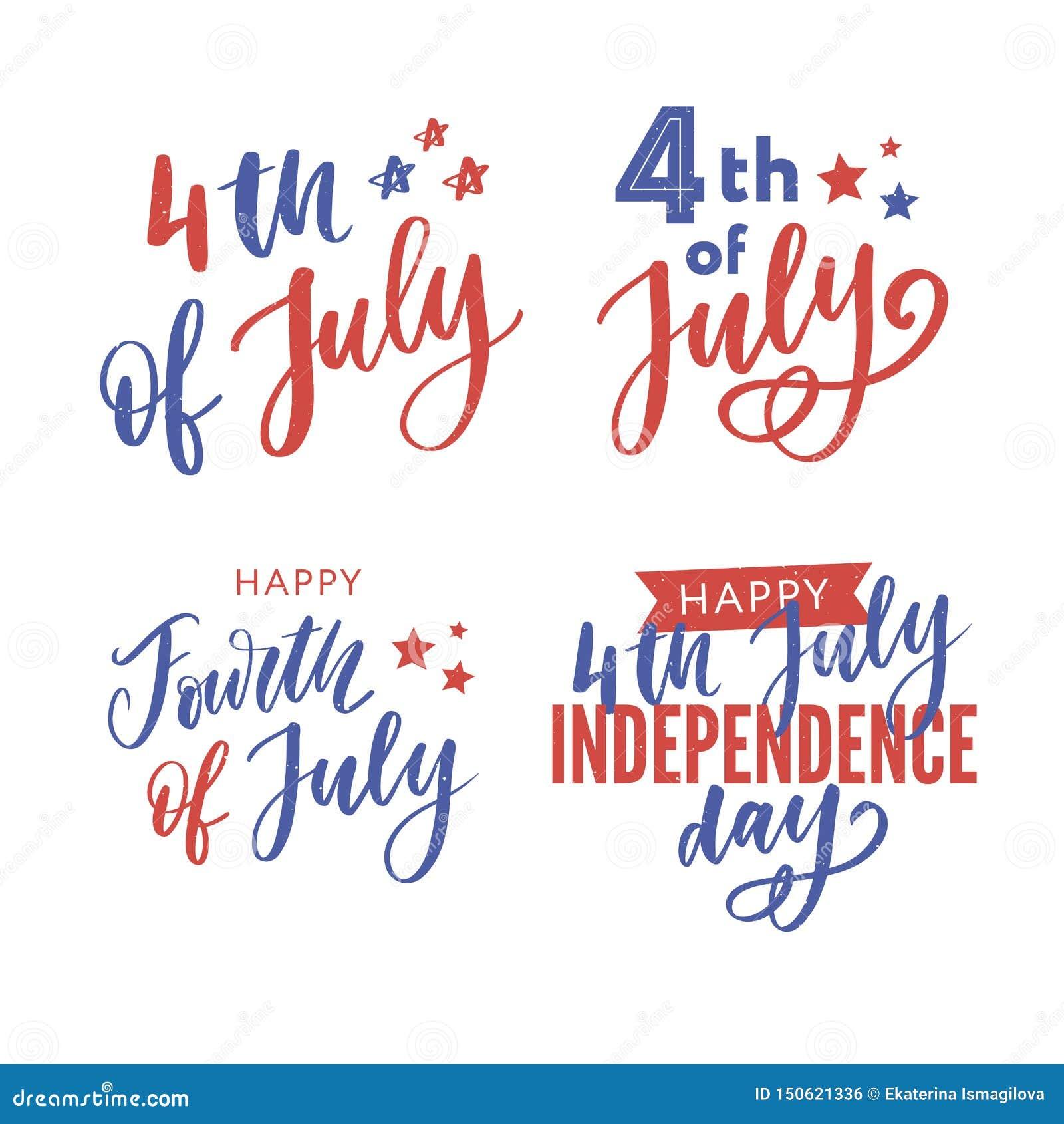 Il quarto luglio Calligrafia felice di festa dell indipendenza