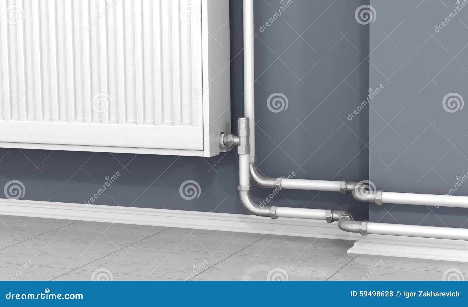 Il radiatore ed i tubi bianchi del riscaldamento - Tubi a vista in casa ...