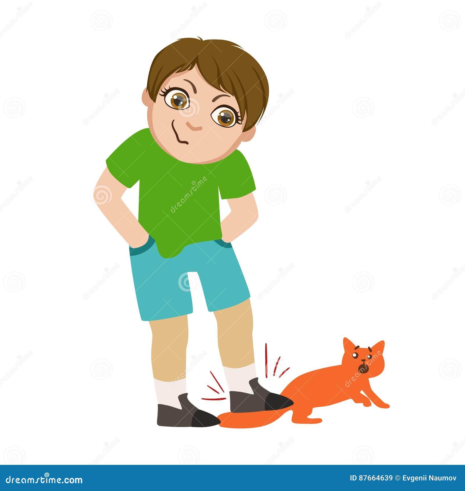 Il ragazzo che fa un passo sulla coda di gatti, parte di Male scherza il comportamento ed opprime la serie di illustrazioni di ve