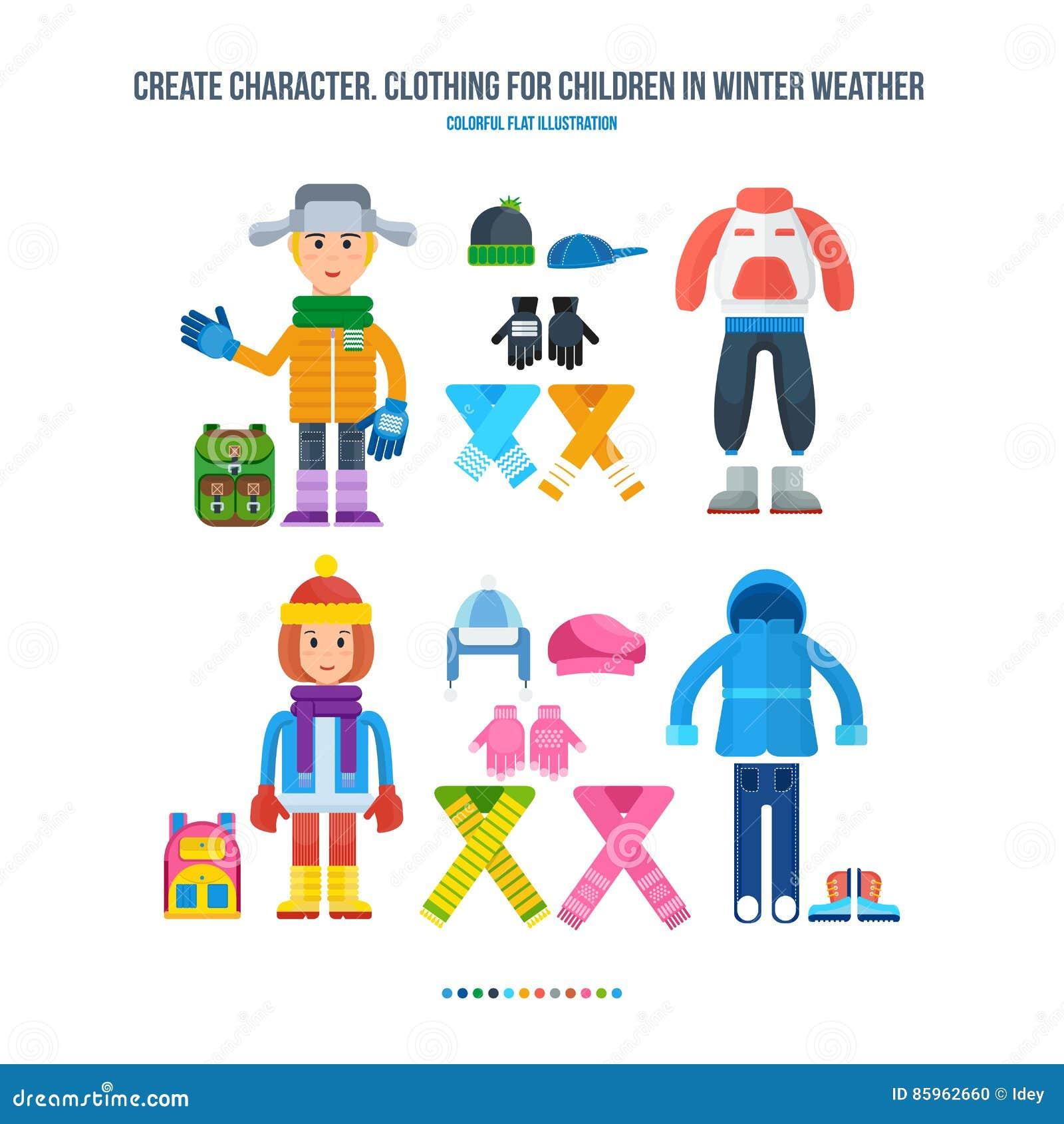 Crei il carattere Abbigliamento per i bambini in tempo di inverno Il ragazzo  e la ragazza si sono vestiti in abbigliamento dell inverno completamente  per ... 23b7e61edd0