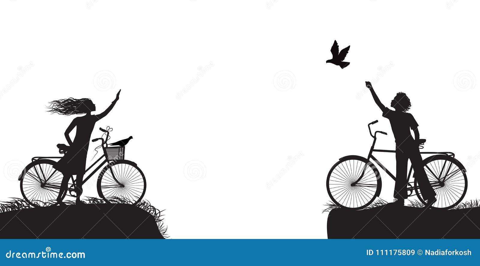 Il ragazzo e la ragazza sulla bicicletta che si ondeggia ed il ragazzo libera il piccione, due amanti sulla bicicletta, in bianco