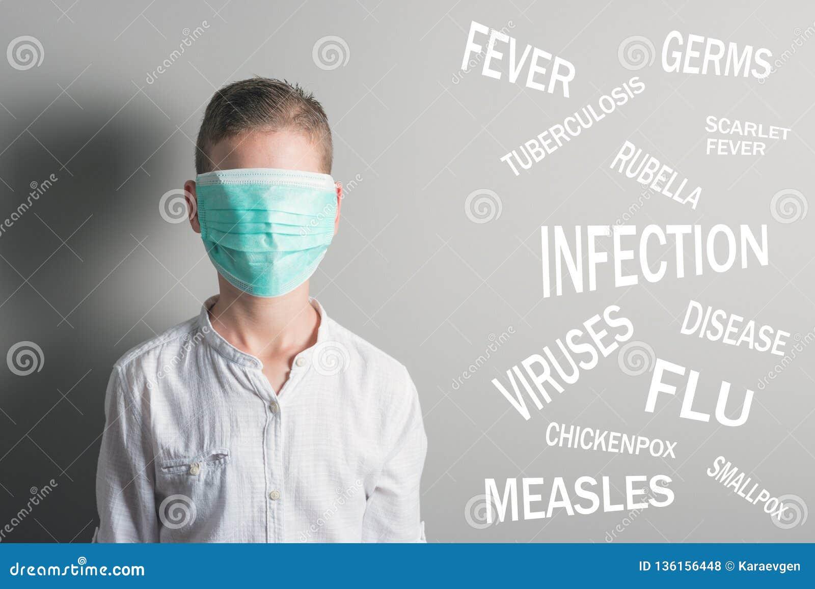 Il ragazzo nella maschera medica ha coperto il suo fronte accanto al nome delle malattie su fondo grigio