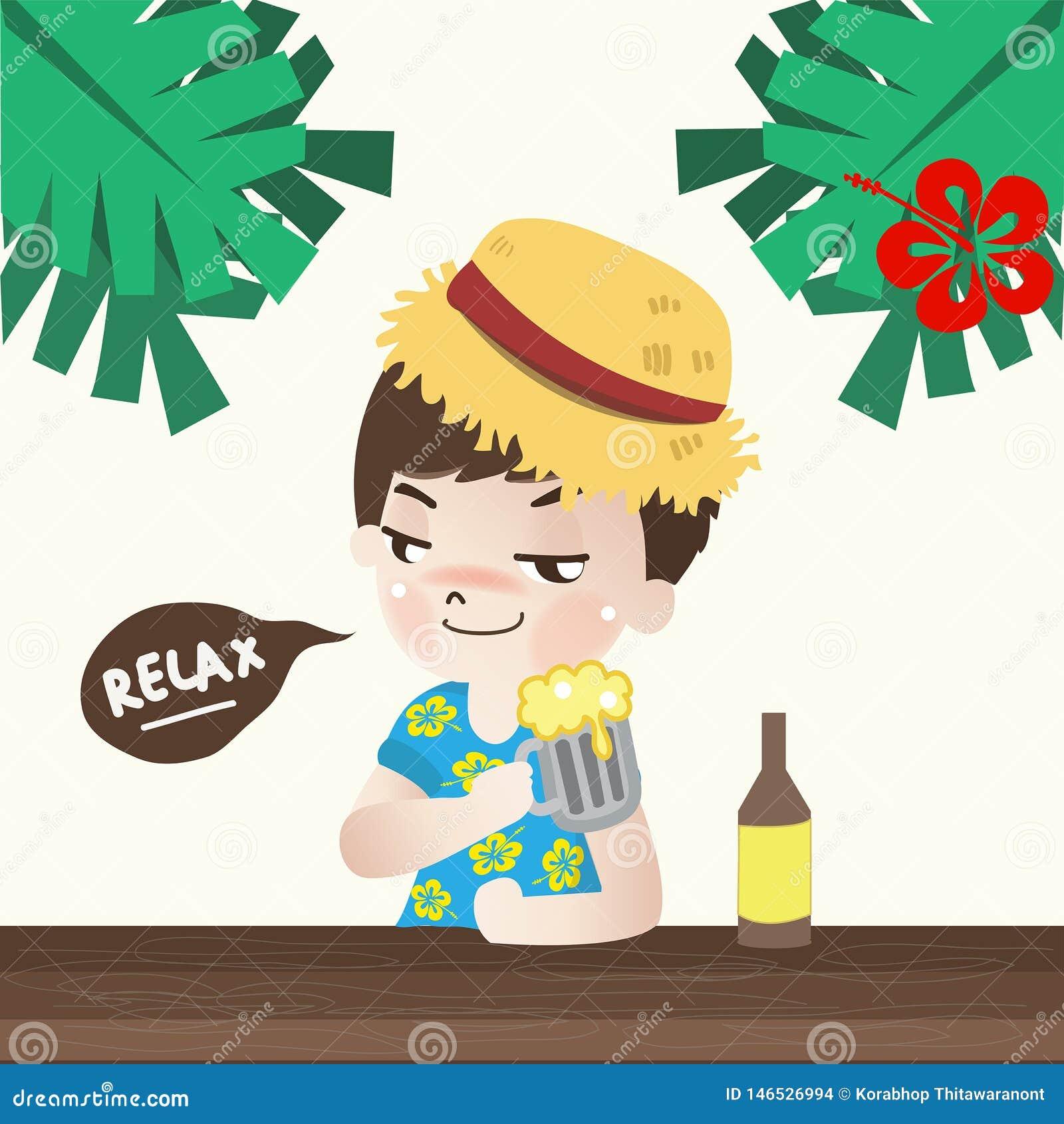 Il ragazzo rilassarsi con birra nella festa