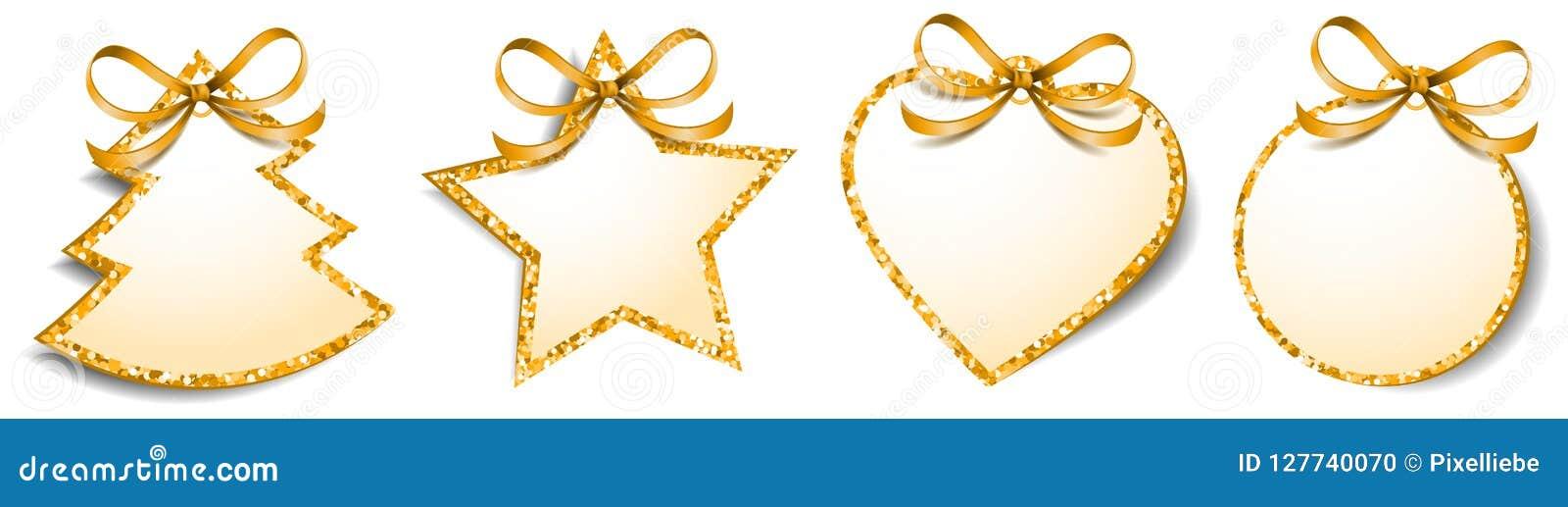 Il regalo di Natale etichetta il vettore isolato spazio in bianco dorato di scintillio delle etichette