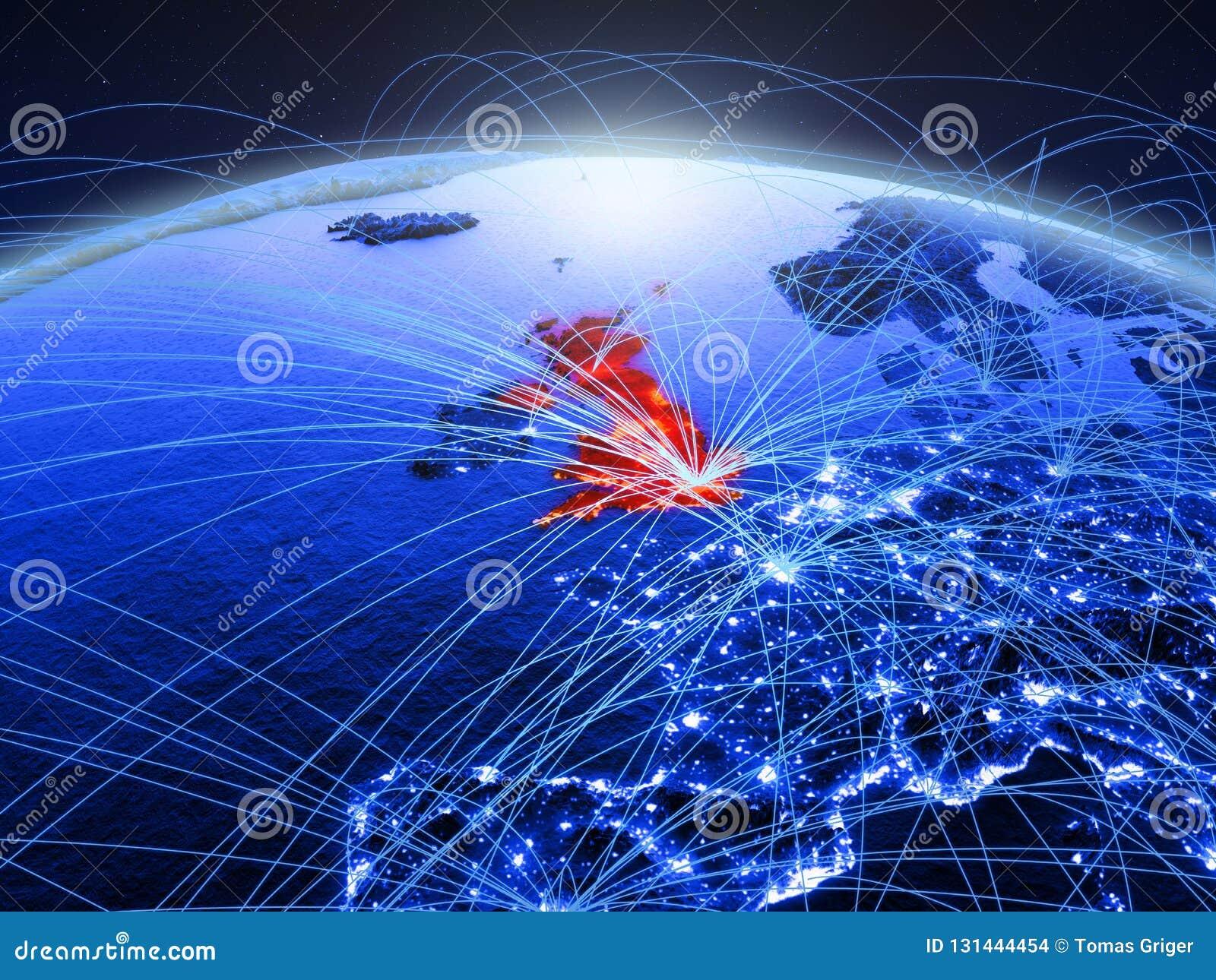 Il Regno Unito su pianeta Terra digitale blu con la rete internazionale che rappresenta comunicazione, viaggio ed i collegamenti