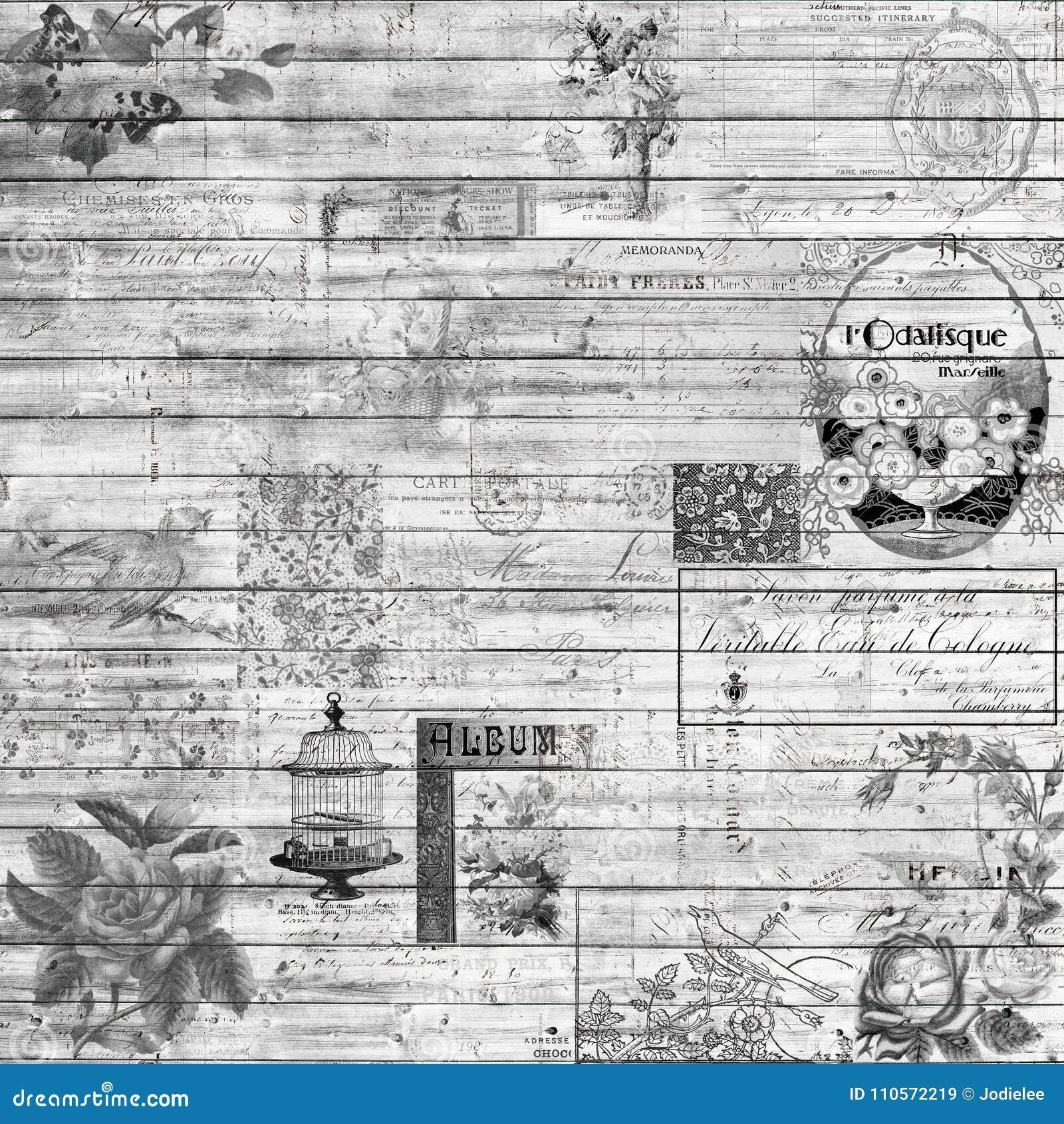 Il retro legno d annata ed il collage del fondo di cose effimere strutturano in bianco e nero