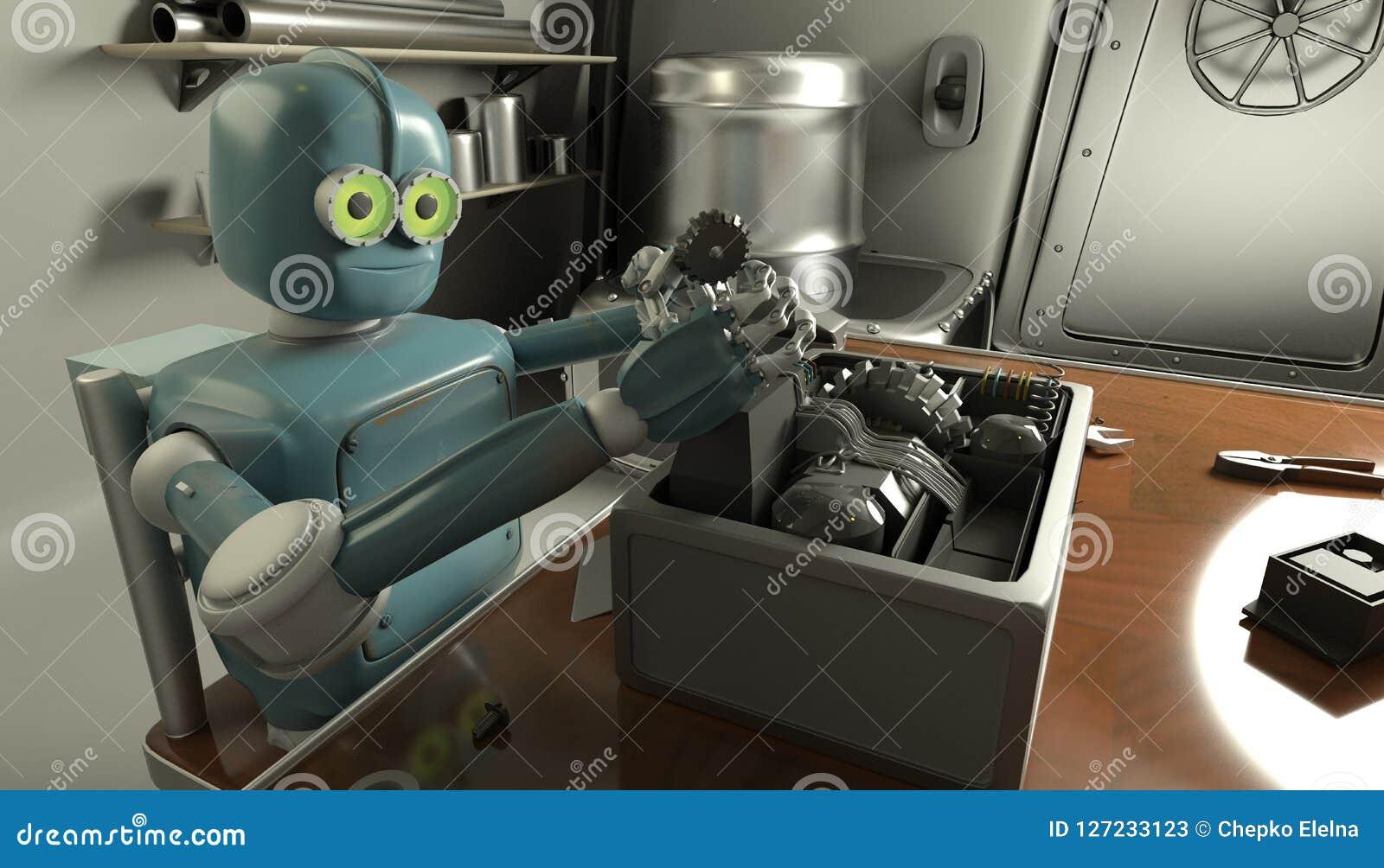 Il retro robot ripara un meccanismo rotto, restauri di Android il det