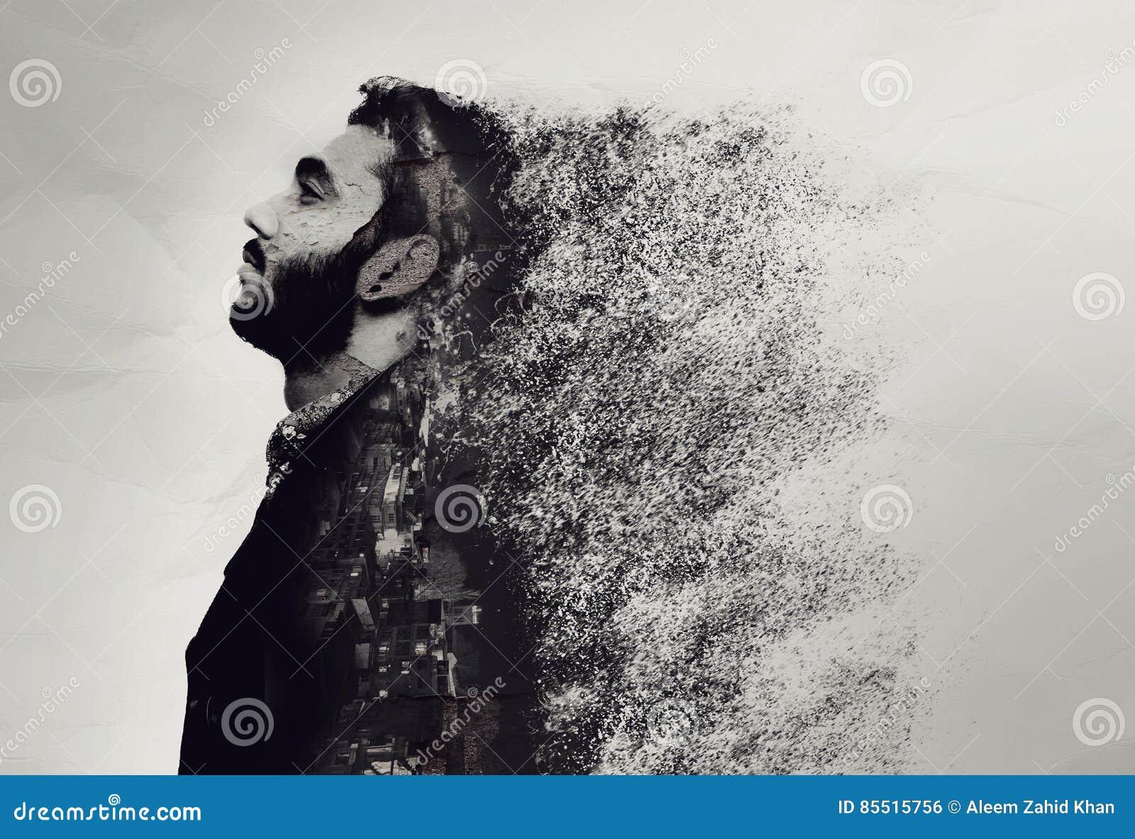 Il ritratto astratto creativo di un tipo si è rotto nei pezzi