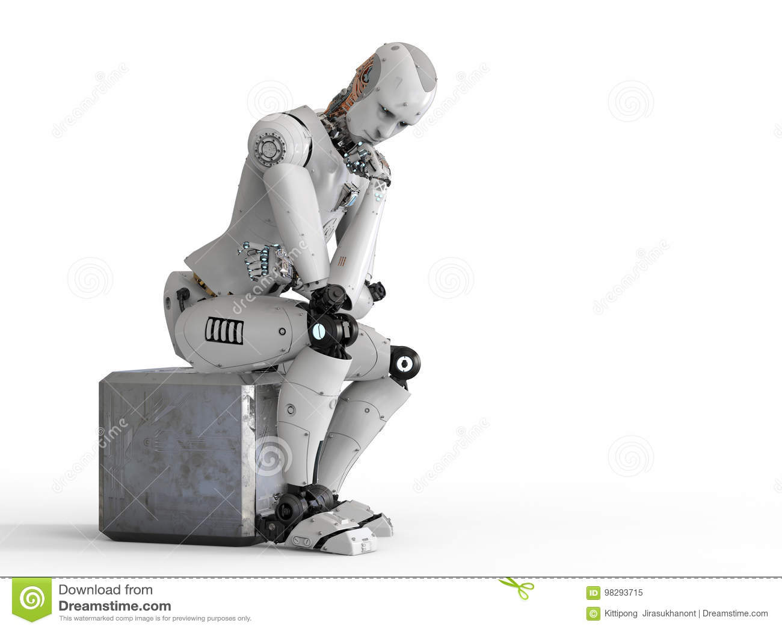 Il robot si siede e pensare