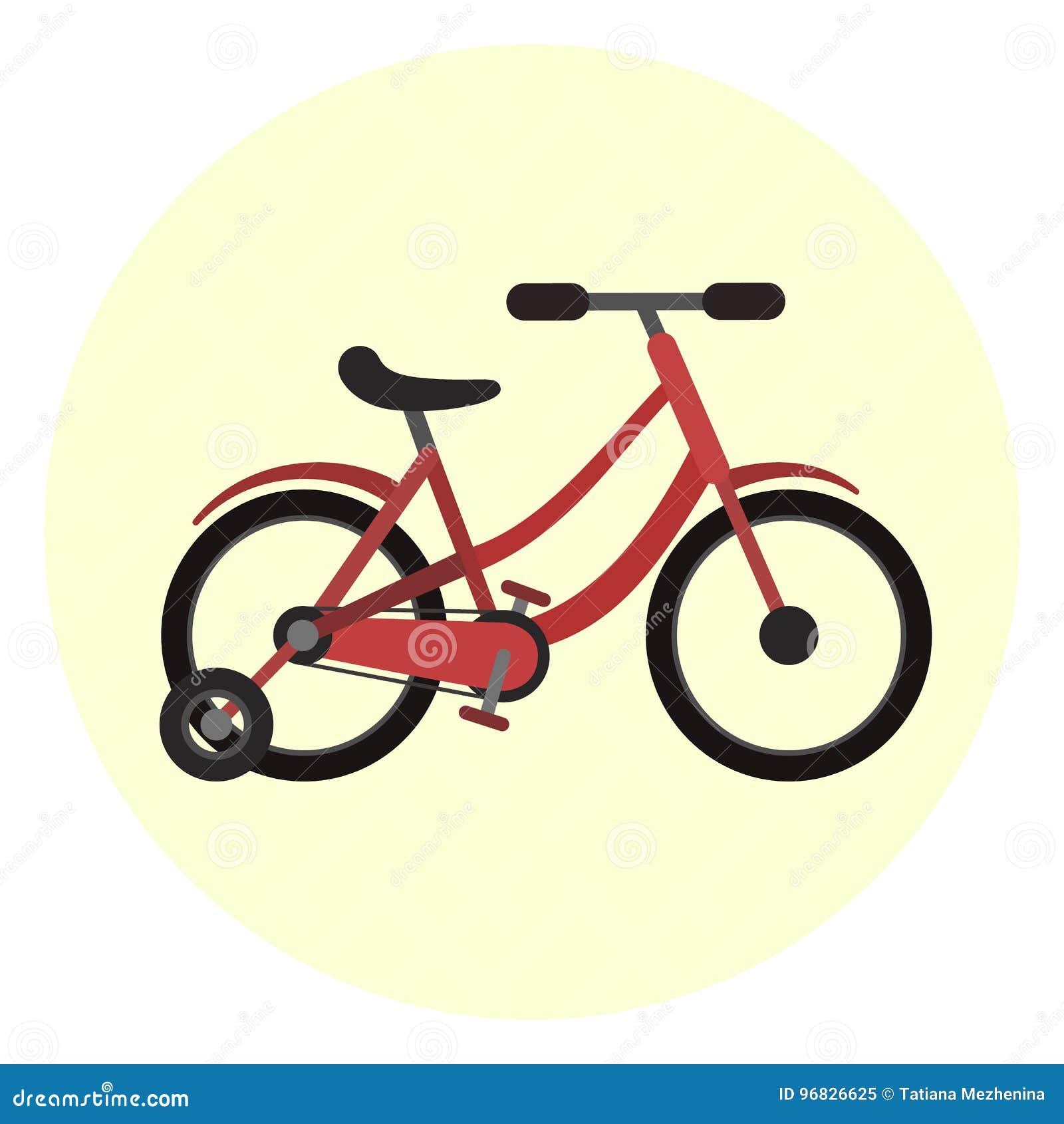 Il Rosso Piano Scherza Licona Della Bicicletta Di Quattro Ruote