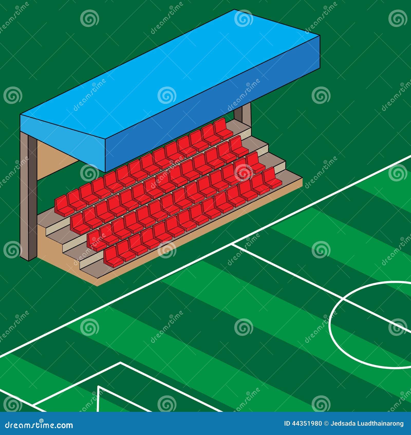 Il rosso vuoto dello stadio mette l illustrazione a sedere