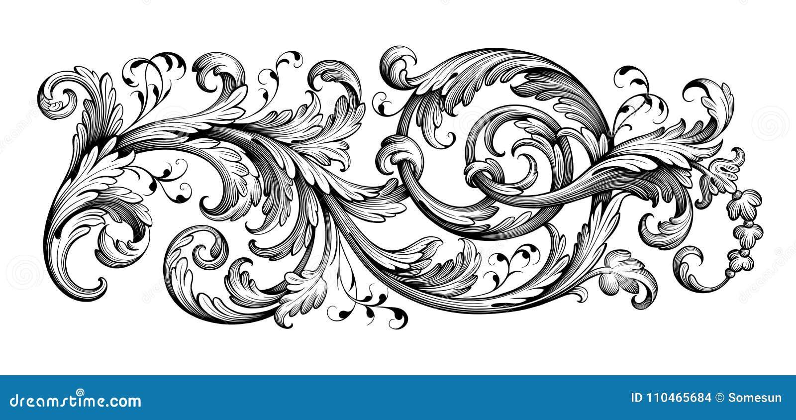 Il rotolo vittoriano barrocco d annata dell ornamento floreale del confine della struttura ha inciso il vettore calligrafico del