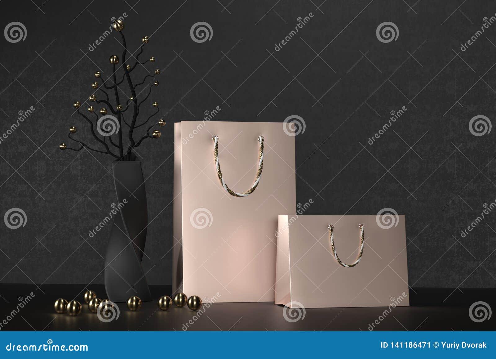 Il sacchetto della spesa rosa di lusso della carta dell oro con le maniglie deride su Pacchetto nero premio per il modello degli