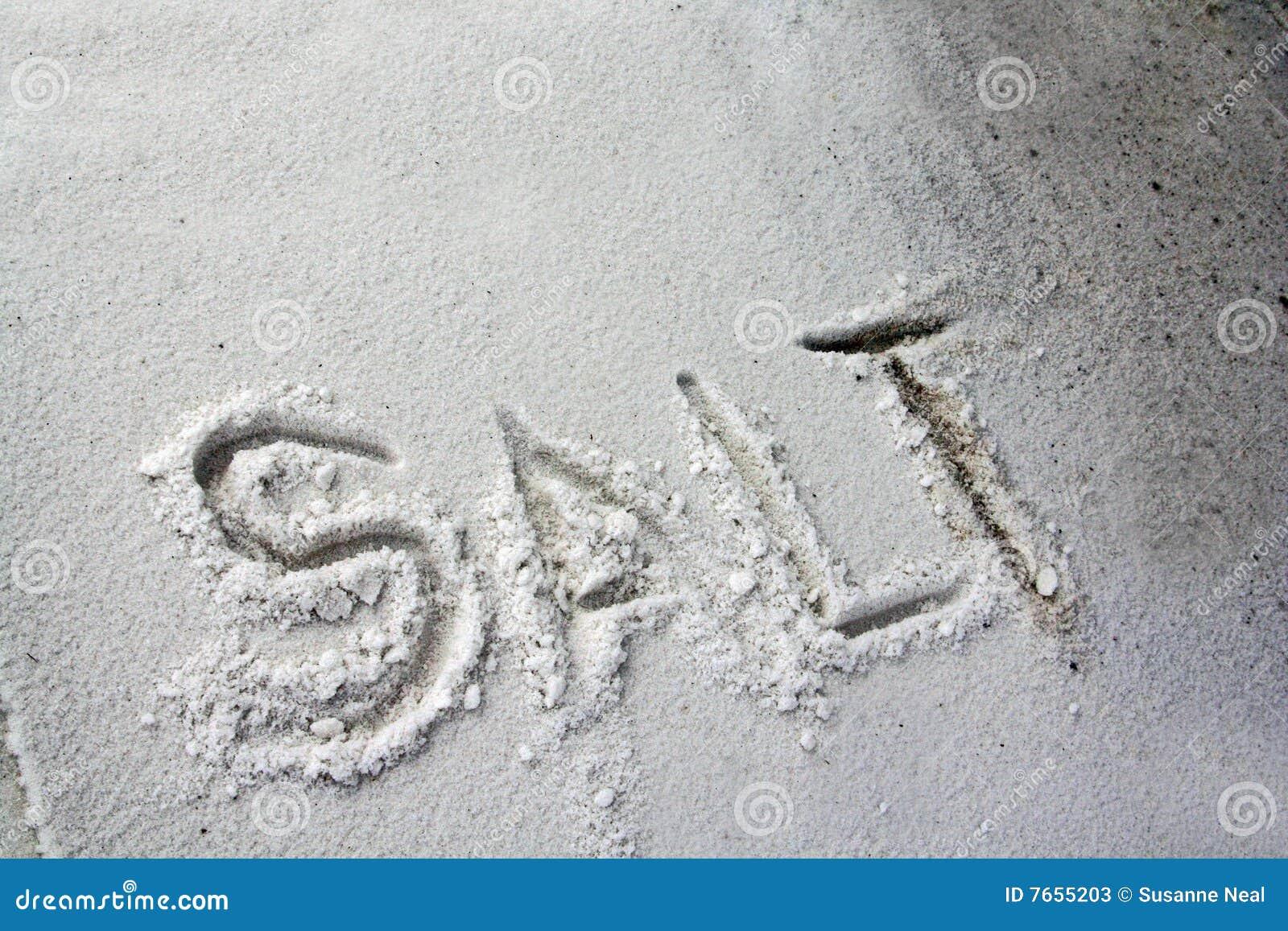 Il sale di parola scritto in sale