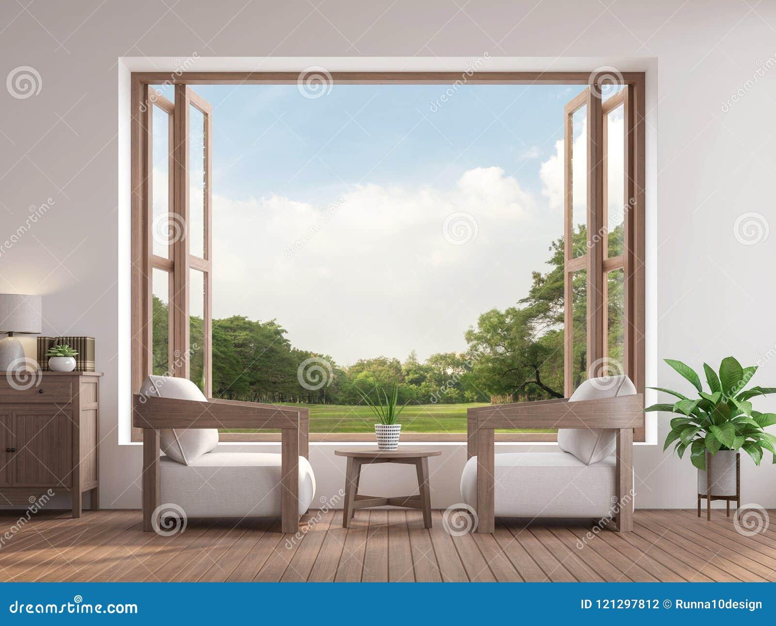 Il salone contemporaneo moderno 3d rende, là è grande finestra aperta che trascura per fare il giardinaggio vista