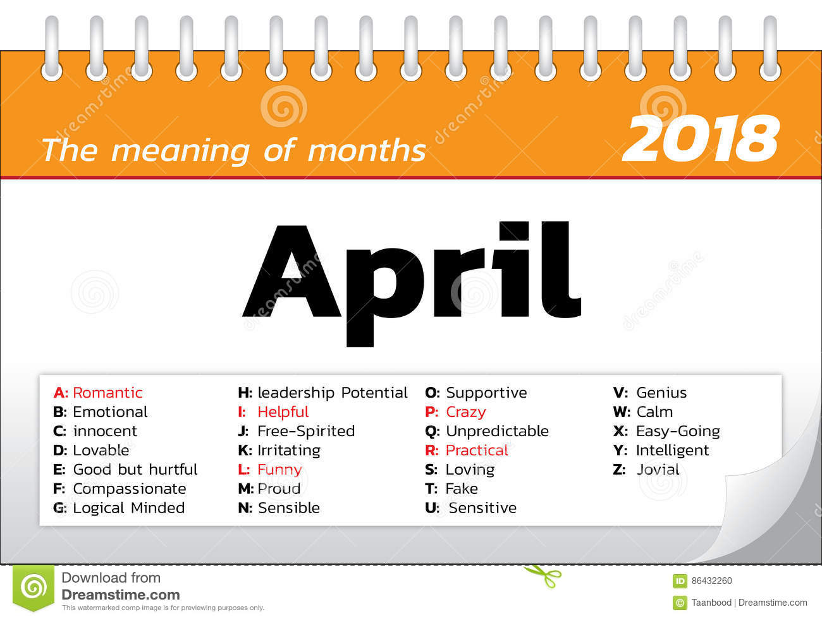 Calendario Significato.Il Significato Dei Mesi Illustrazione Di Stock