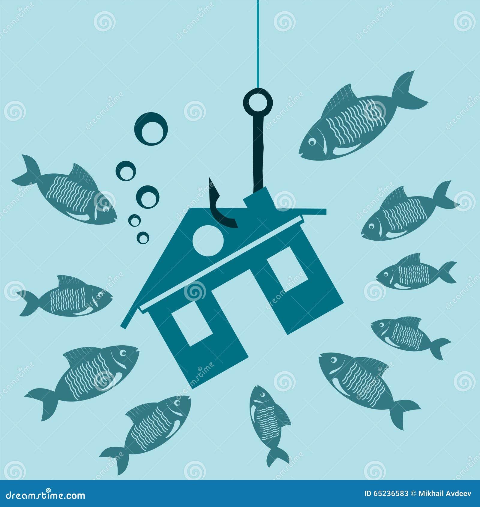 Il simbolo della casa su un gancio sotto acqua con il pesce