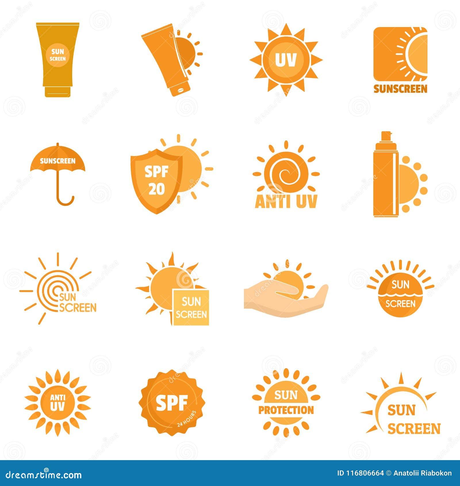 Il sole della protezione solare protegge le icone messe, stile piano di logo
