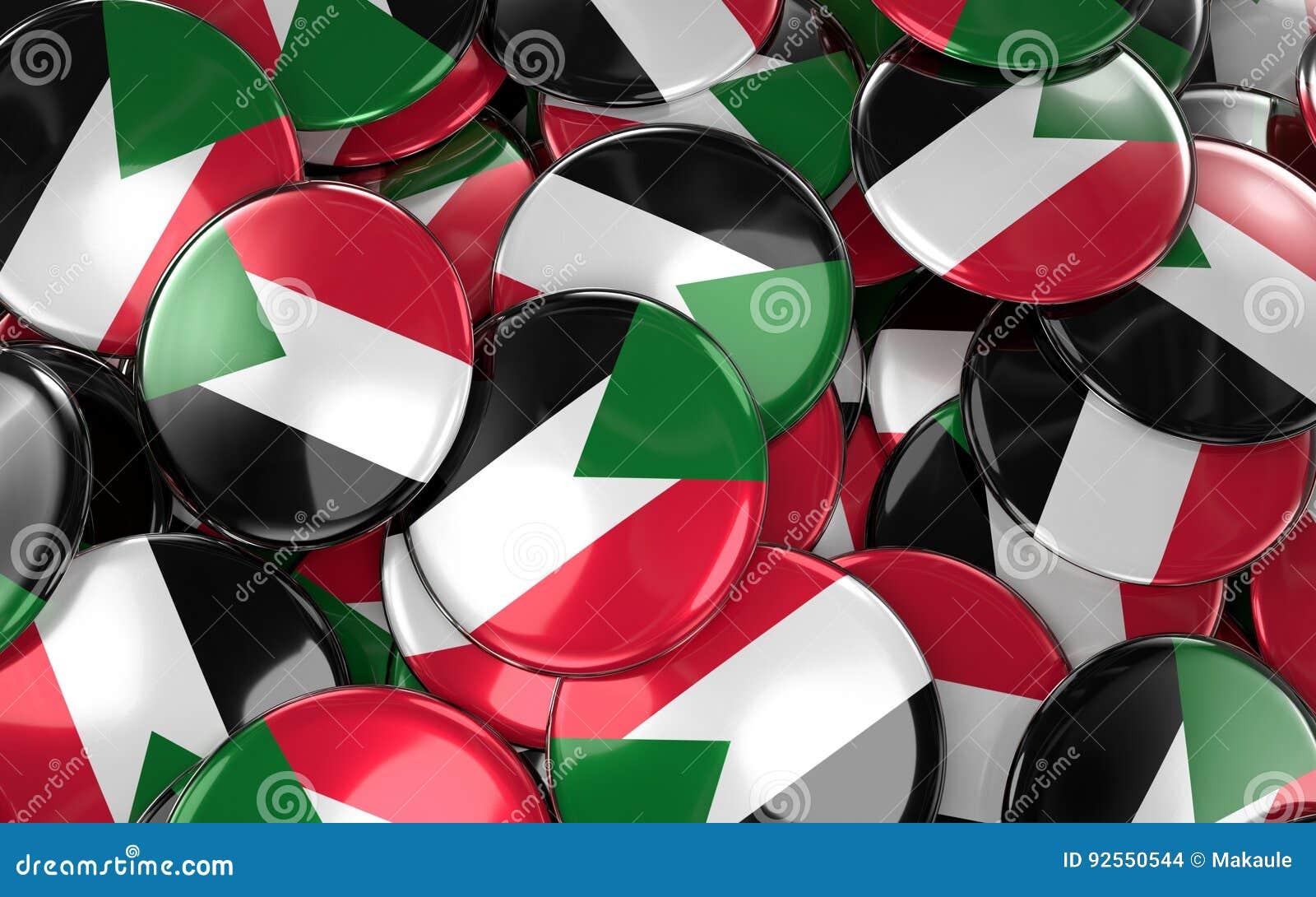 Il Sudan Badges il fondo - mucchio dei bottoni della bandiera del sudanese