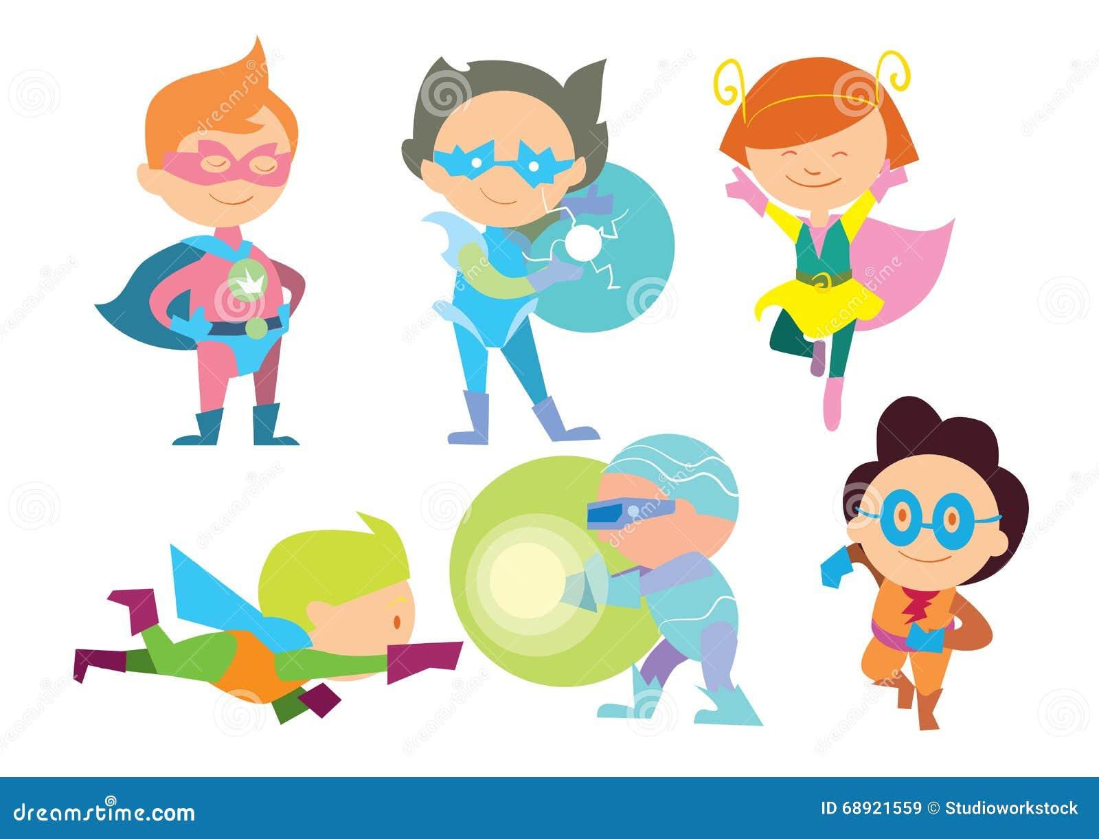 Il supereroe scherza il vettore del fumetto delle ragazze e dei ragazzi