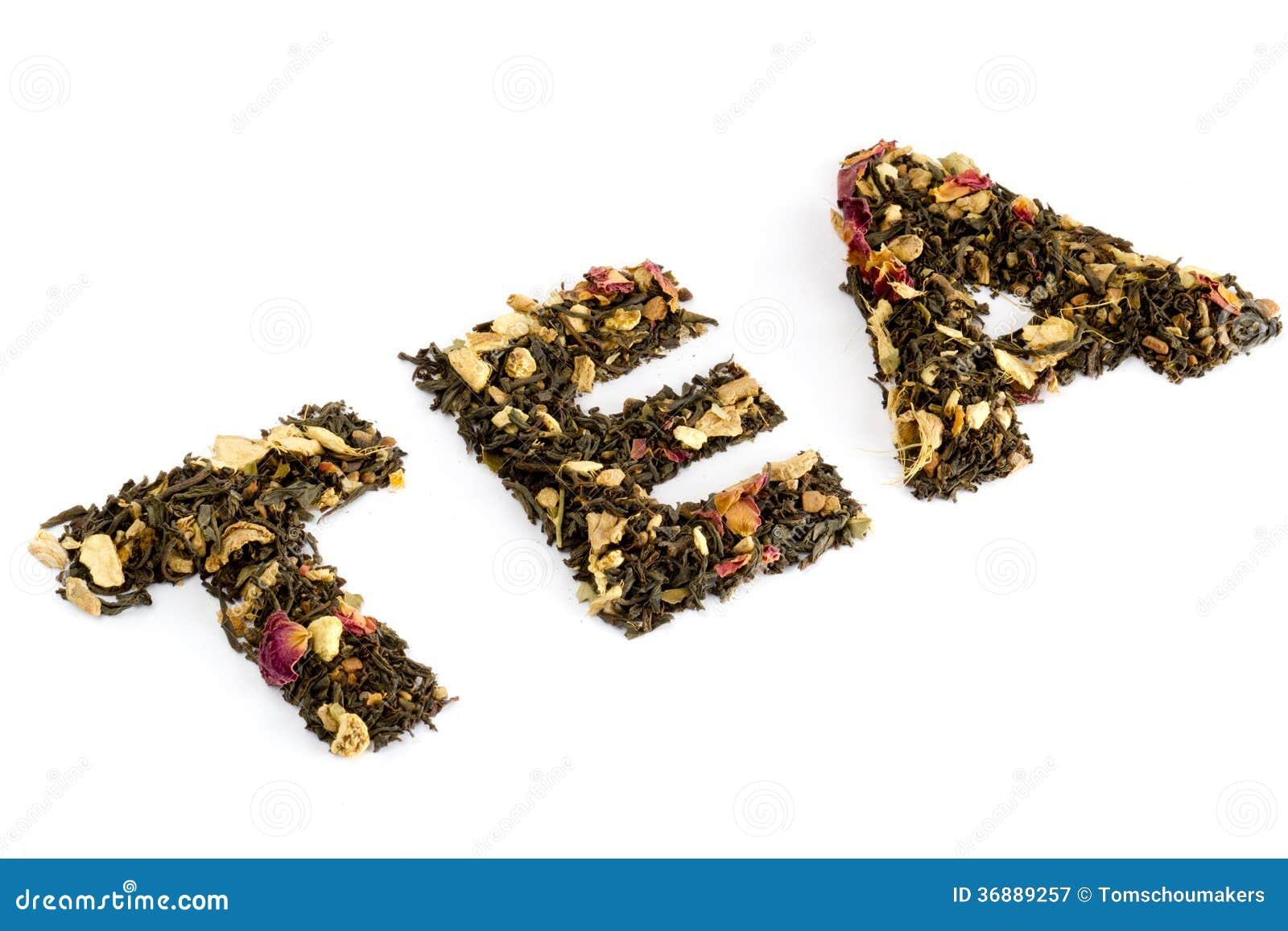 Download Il Tè Di Parola Compitato Con Tè Immagine Stock - Immagine di erba, floreale: 36889257