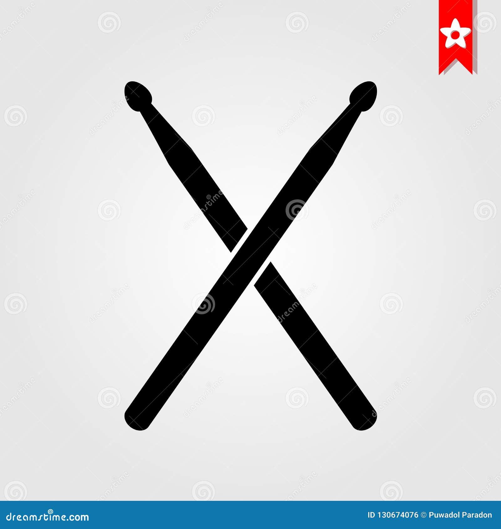 Il tamburo attacca l icona nello stile nero isolata su fondo bianco dru